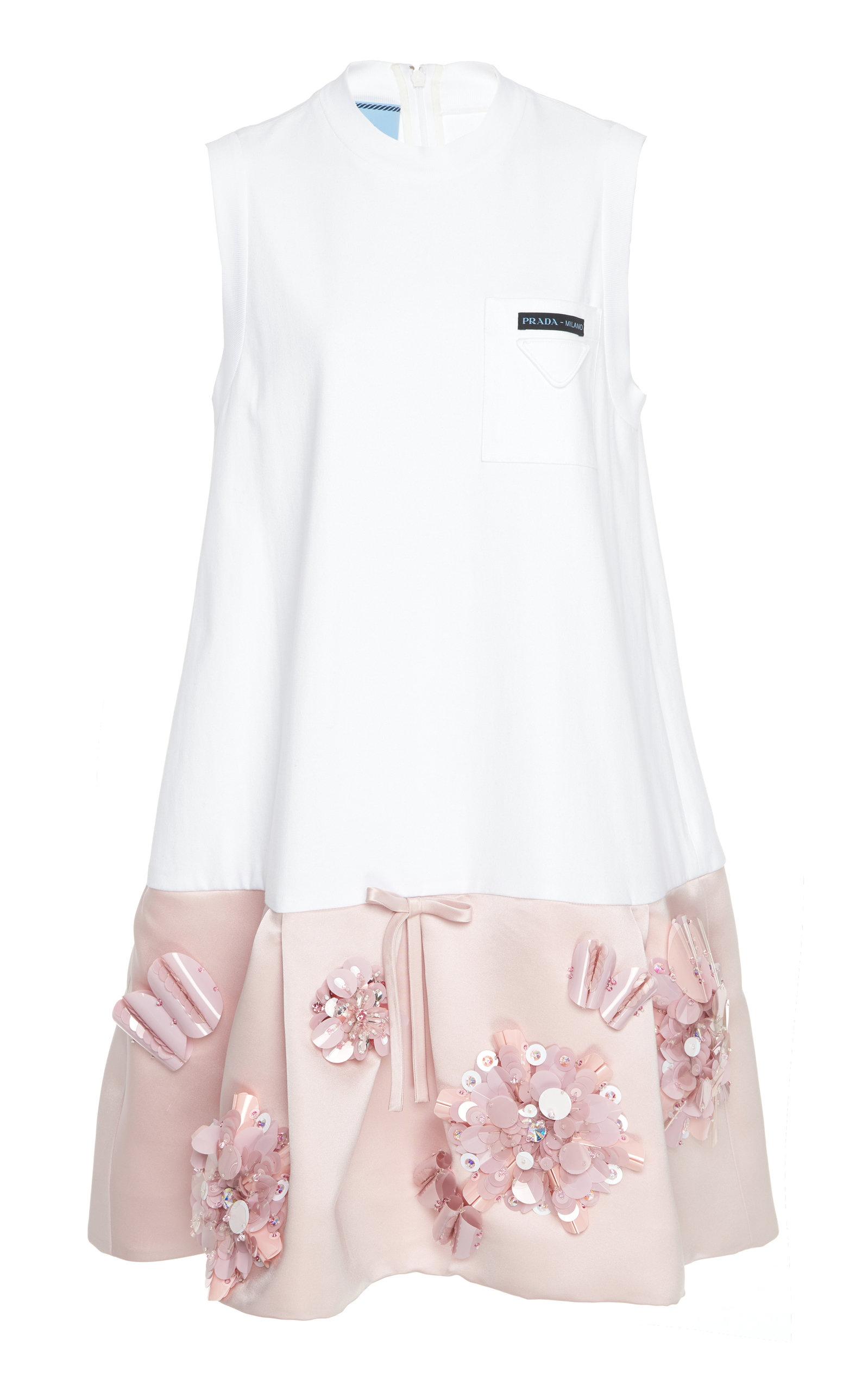 Buy Prada Embellished Satin-Paneled Jersey Mini Dress online, shop Prada at the best price