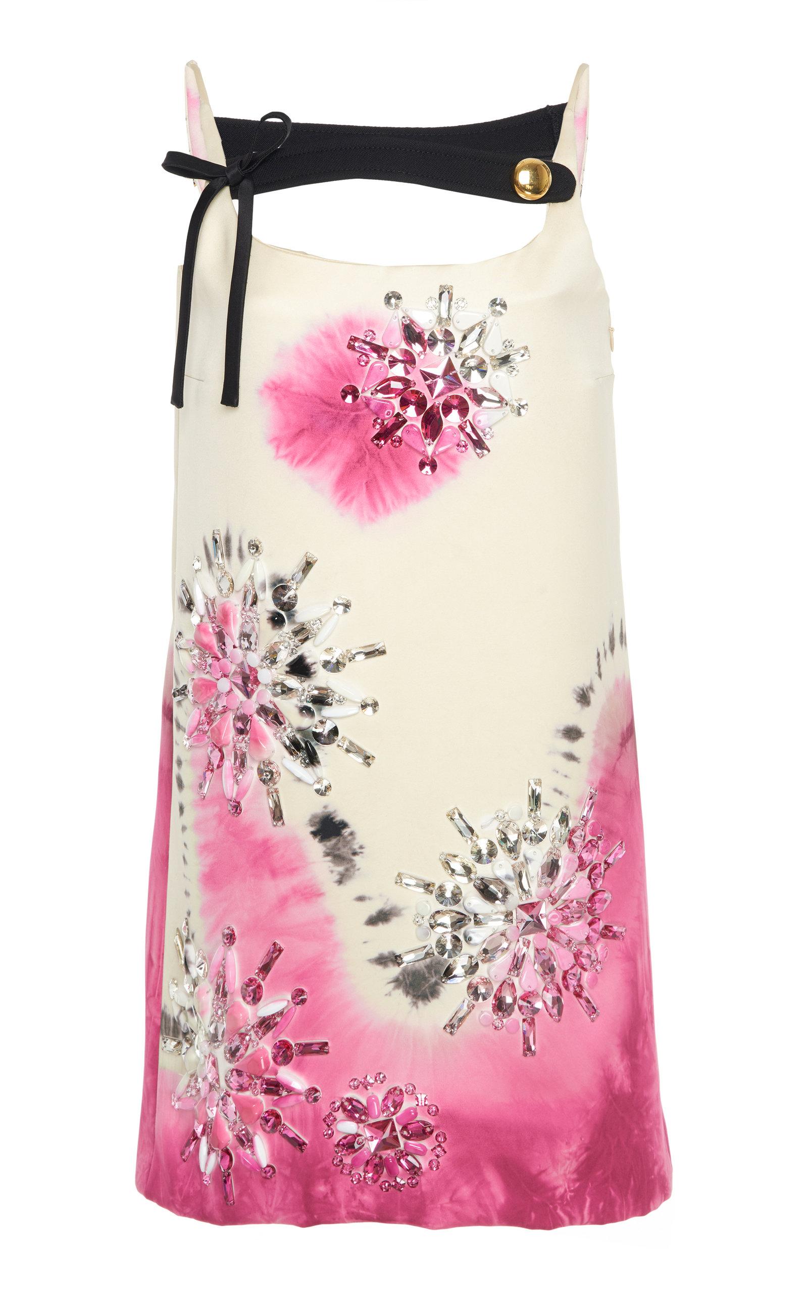 Buy Prada Embellished Tie-Dye Silk-Satin Mini Dress online, shop Prada at the best price
