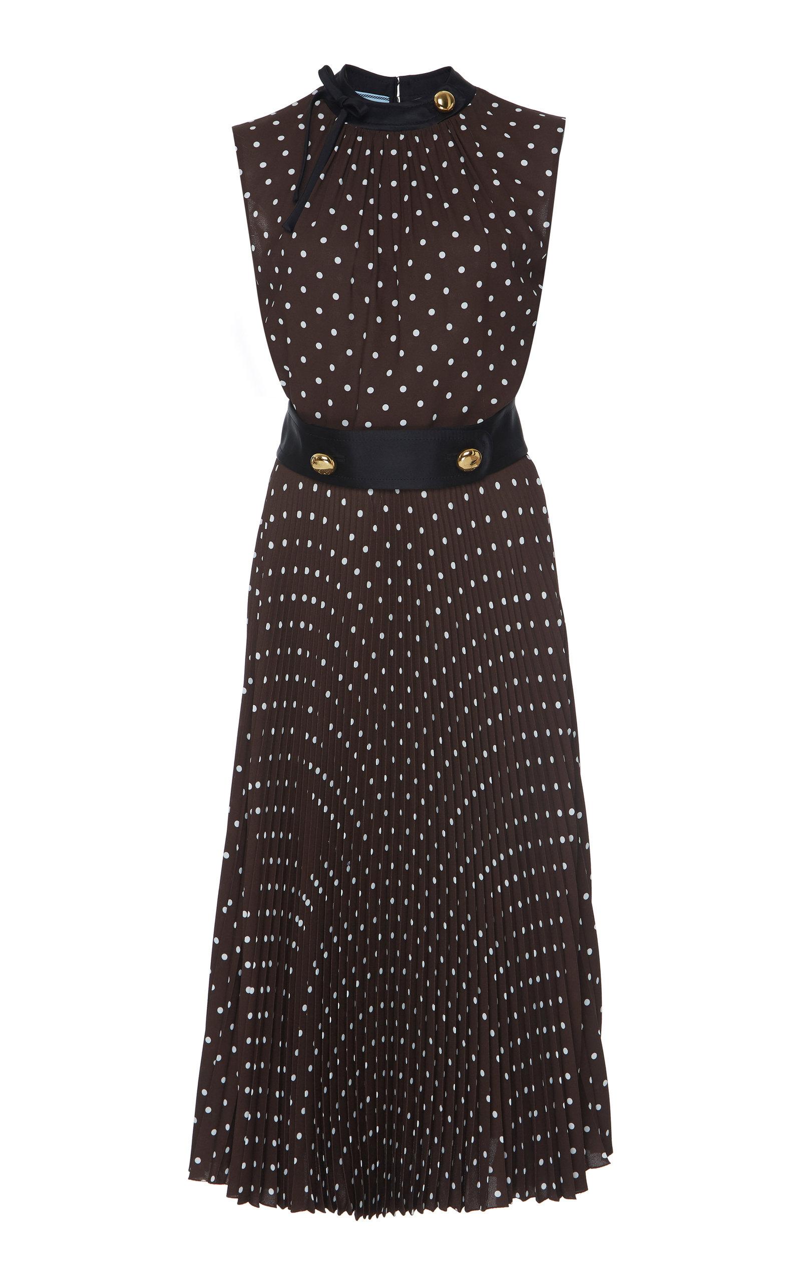 Buy Prada Button-Detailed Polka-Dot Crepe De Chine Midi Dress online, shop Prada at the best price