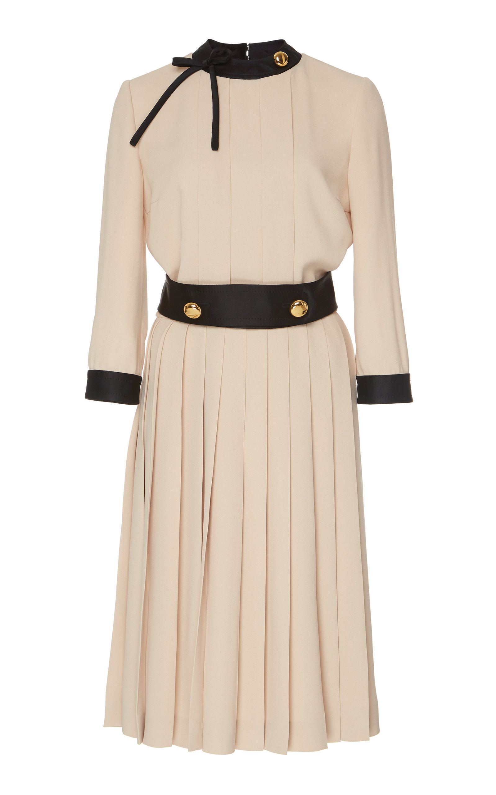 Buy Prada Button-Detailed Pleated Crepe Midi Dress online, shop Prada at the best price