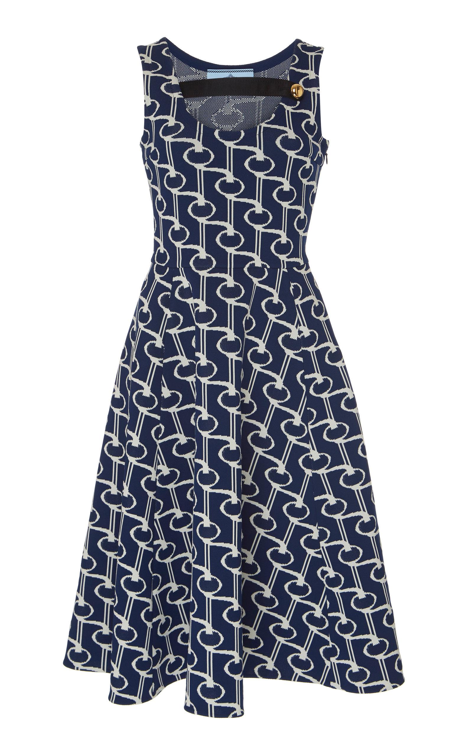 Buy Prada Button-Detailed Cotton-Jacquard Midi Dress online, shop Prada at the best price
