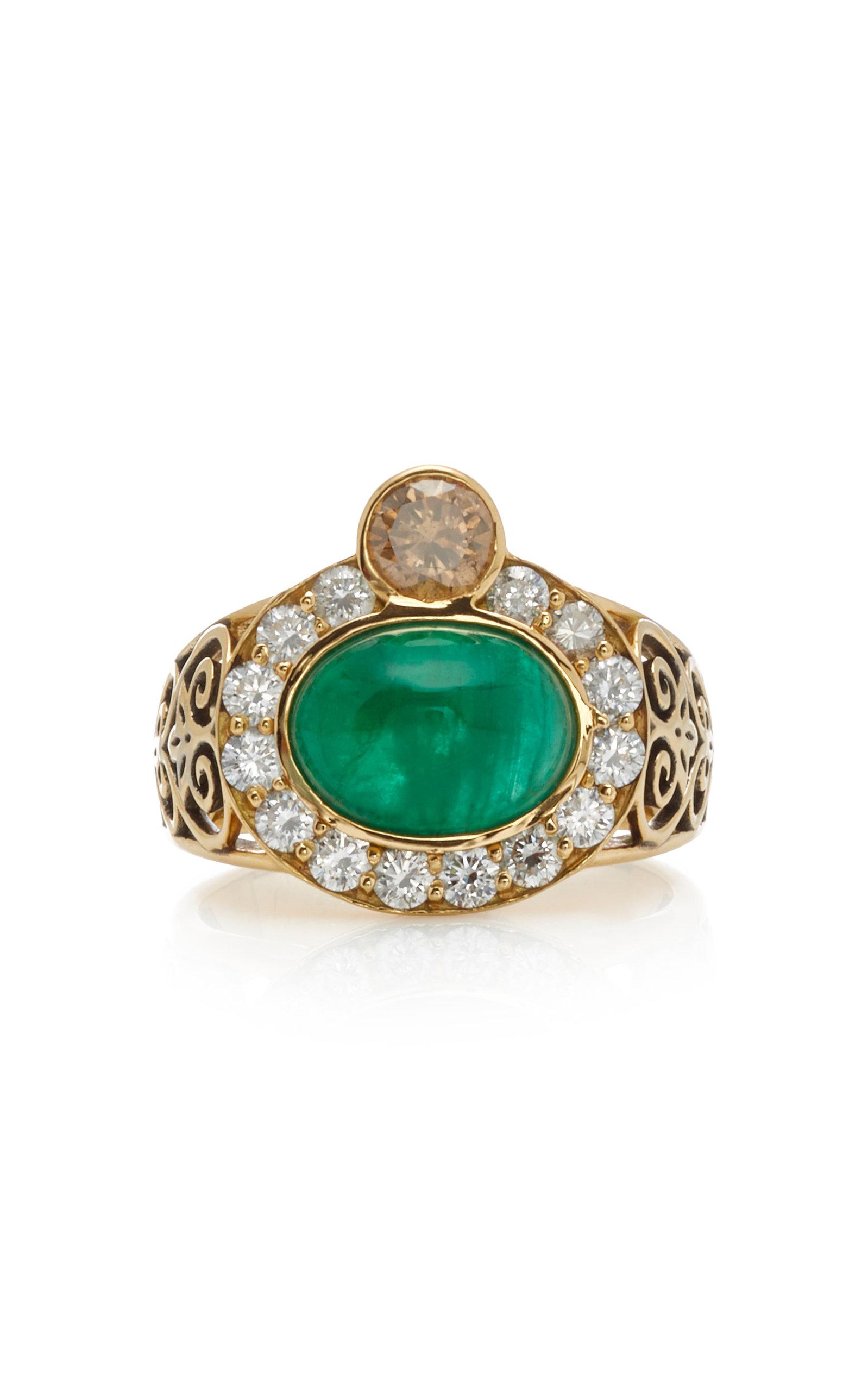 Women's Composure 18K Gold; Emerald and Diamond Ring