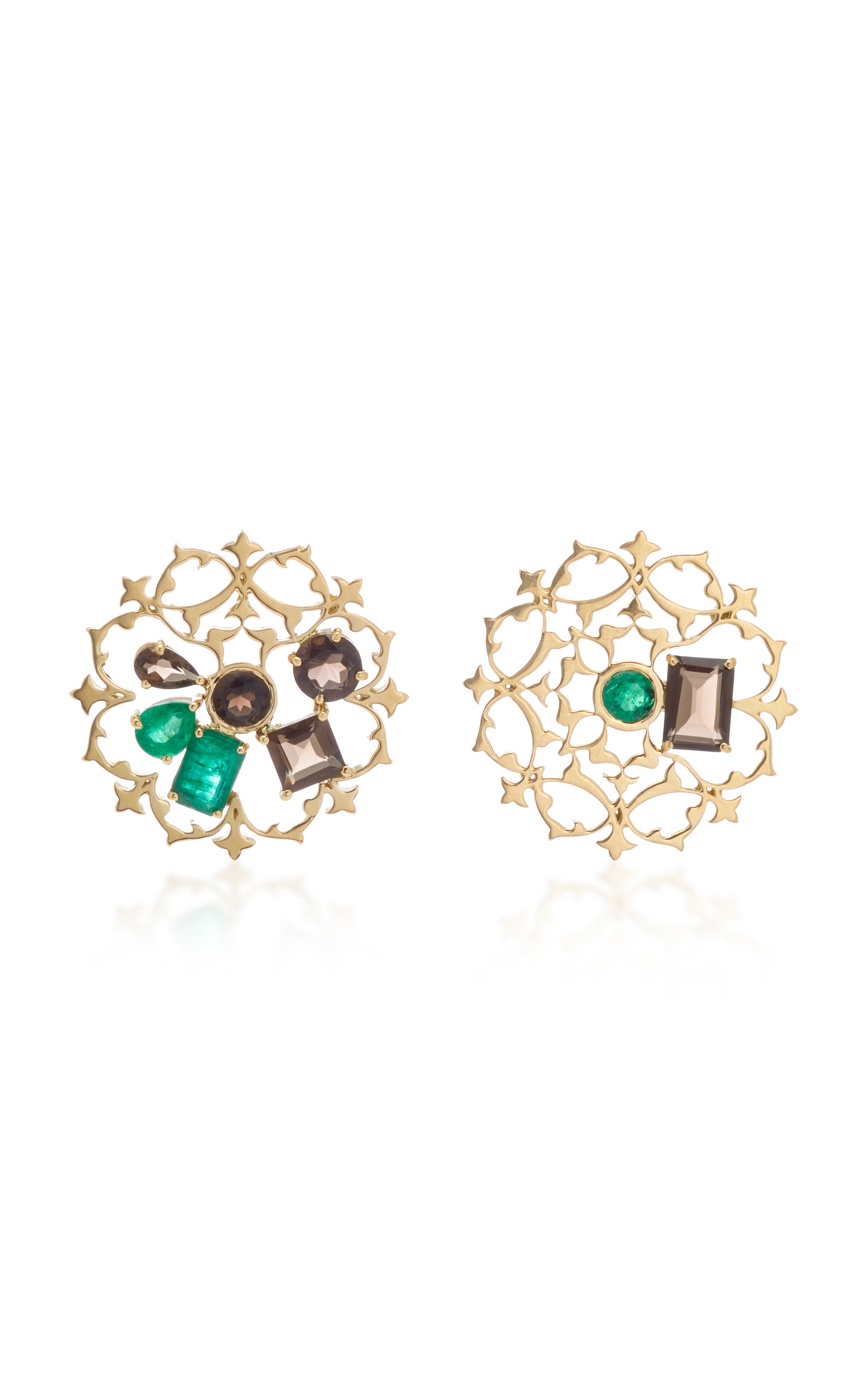 Women's Tranquility Mismatched 18K Gold; Quartz and Emerald Earrings