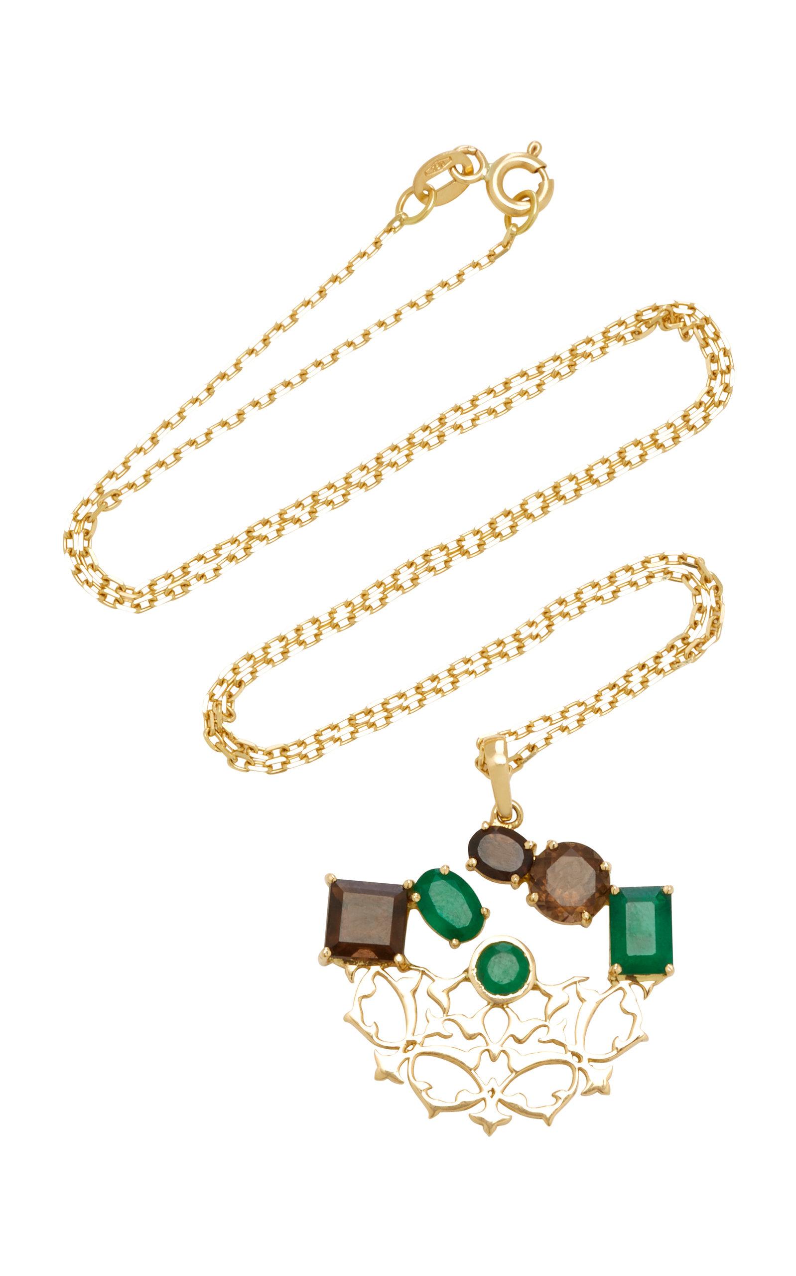 Women's Respect 18K Gold; Quartz and Emerald Necklace