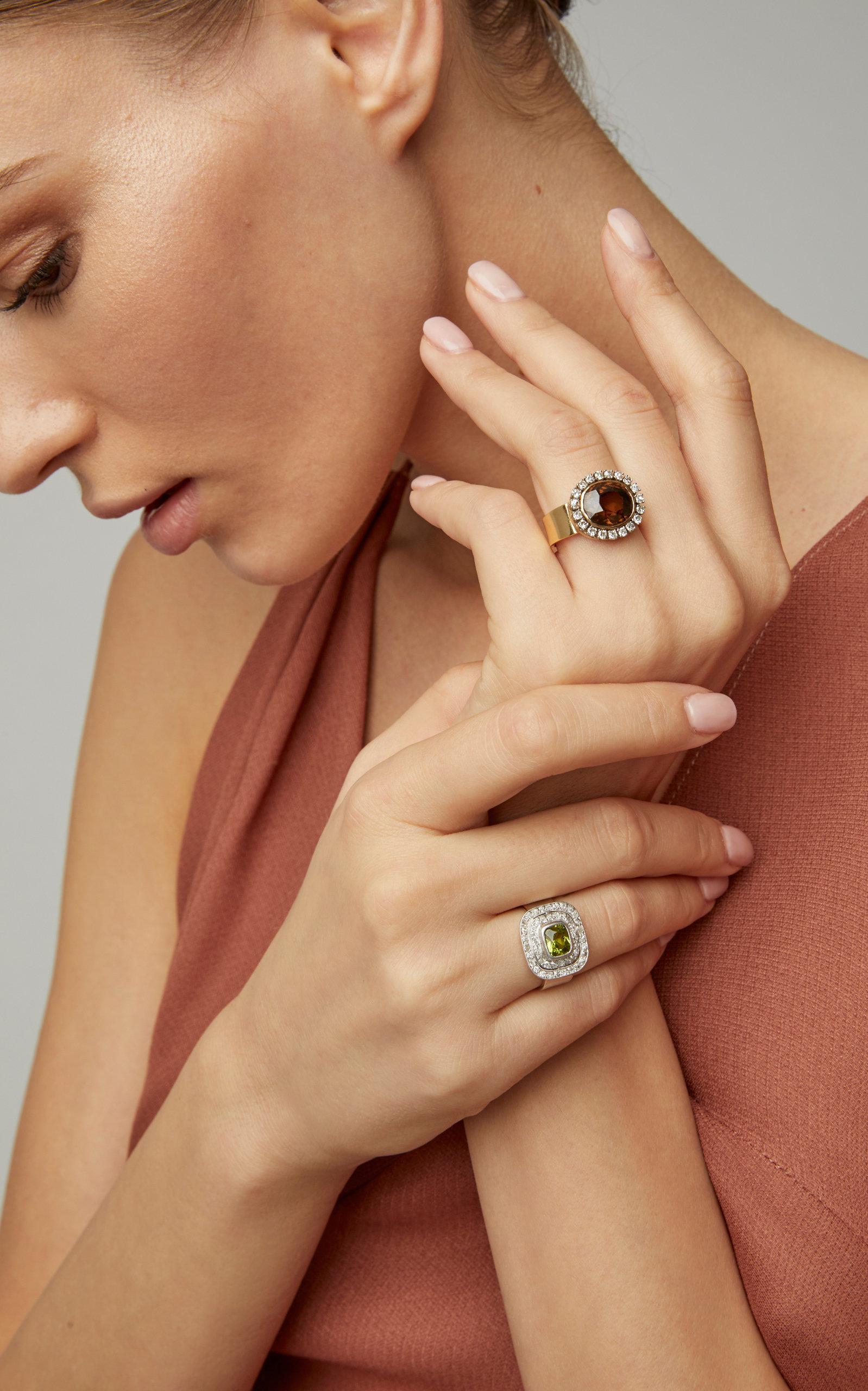 Peridot And Diamond Ring By Renee Lewis Moda Operandi