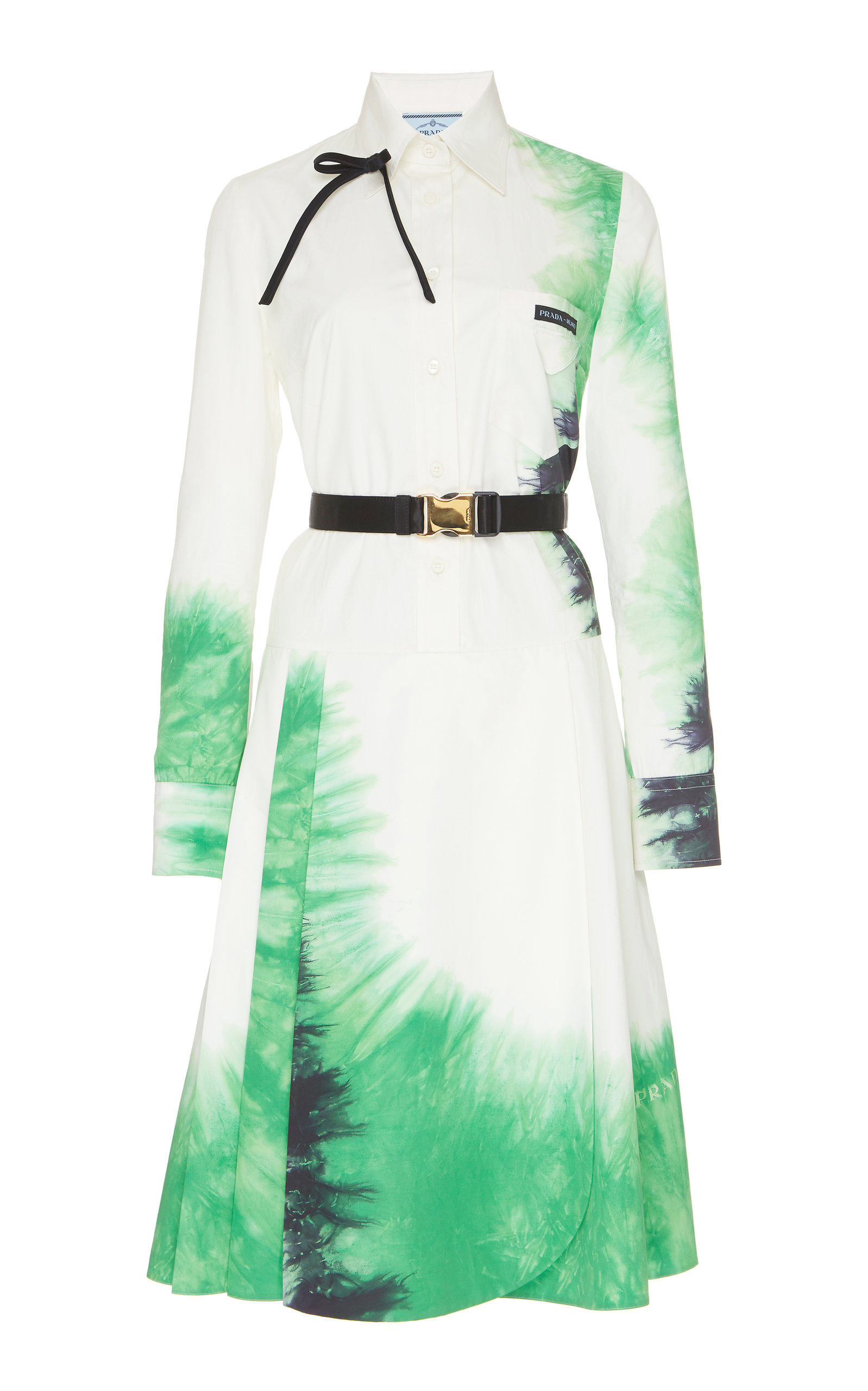 Buy Prada Belted Tie-Dye Poplin Dress online, shop Prada at the best price
