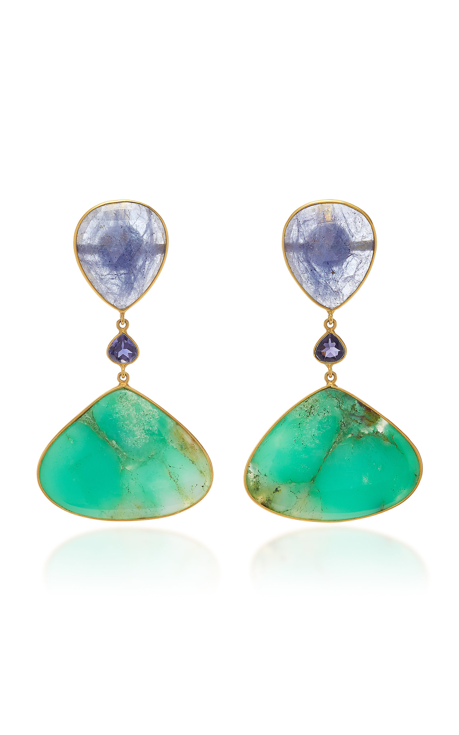 Women's 18K Gold; Tanzanite; Iolith and Chrysoprase Earrings