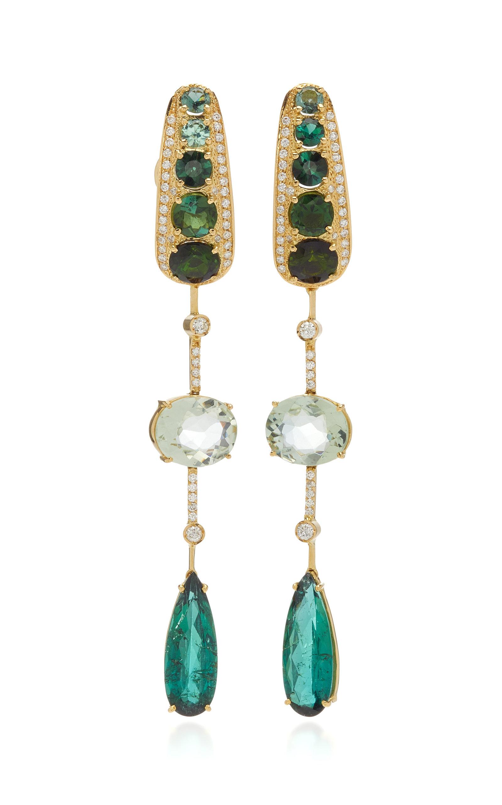 Women's Amazonia 18K Gold; Green Tourmaline; Prasiolite And Diamond Drop Earrings