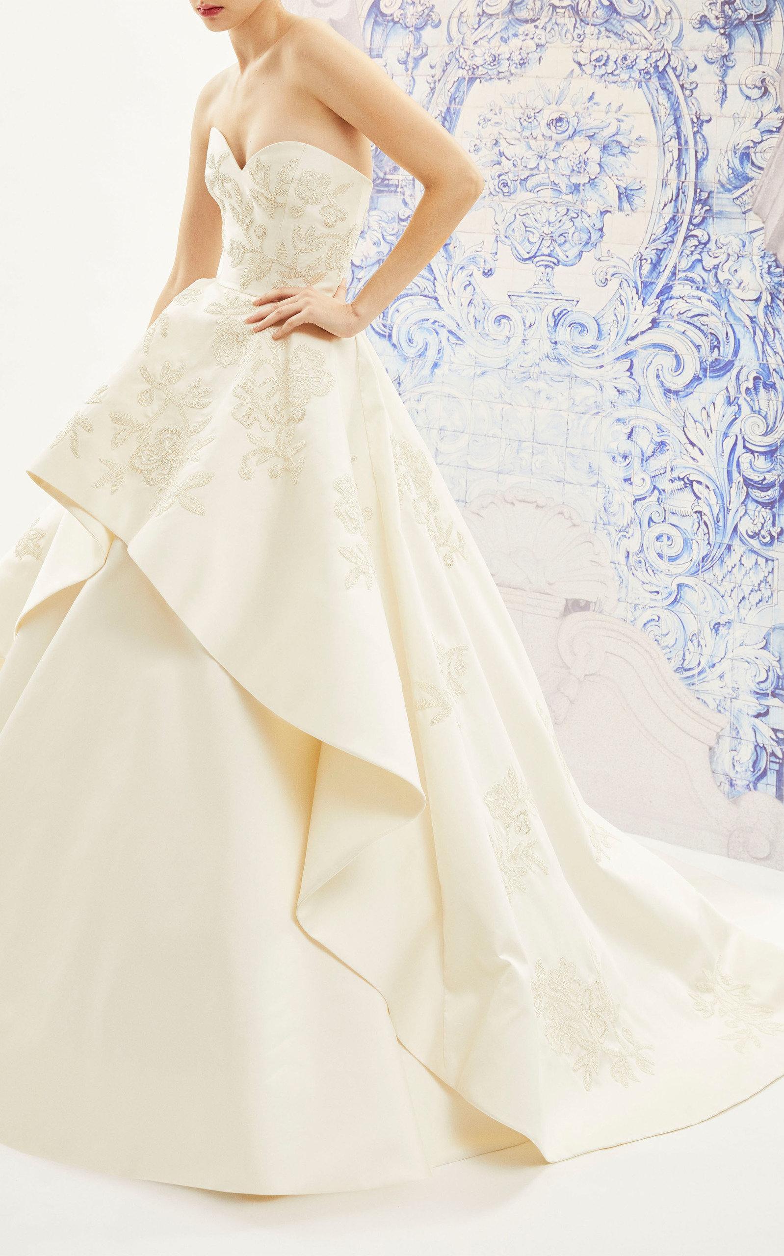 Buy Carolina Herrera Bridal Ivonne Strapless Silk Ballgown With Floral Emb online, shop Carolina Herrera Bridal at the best price