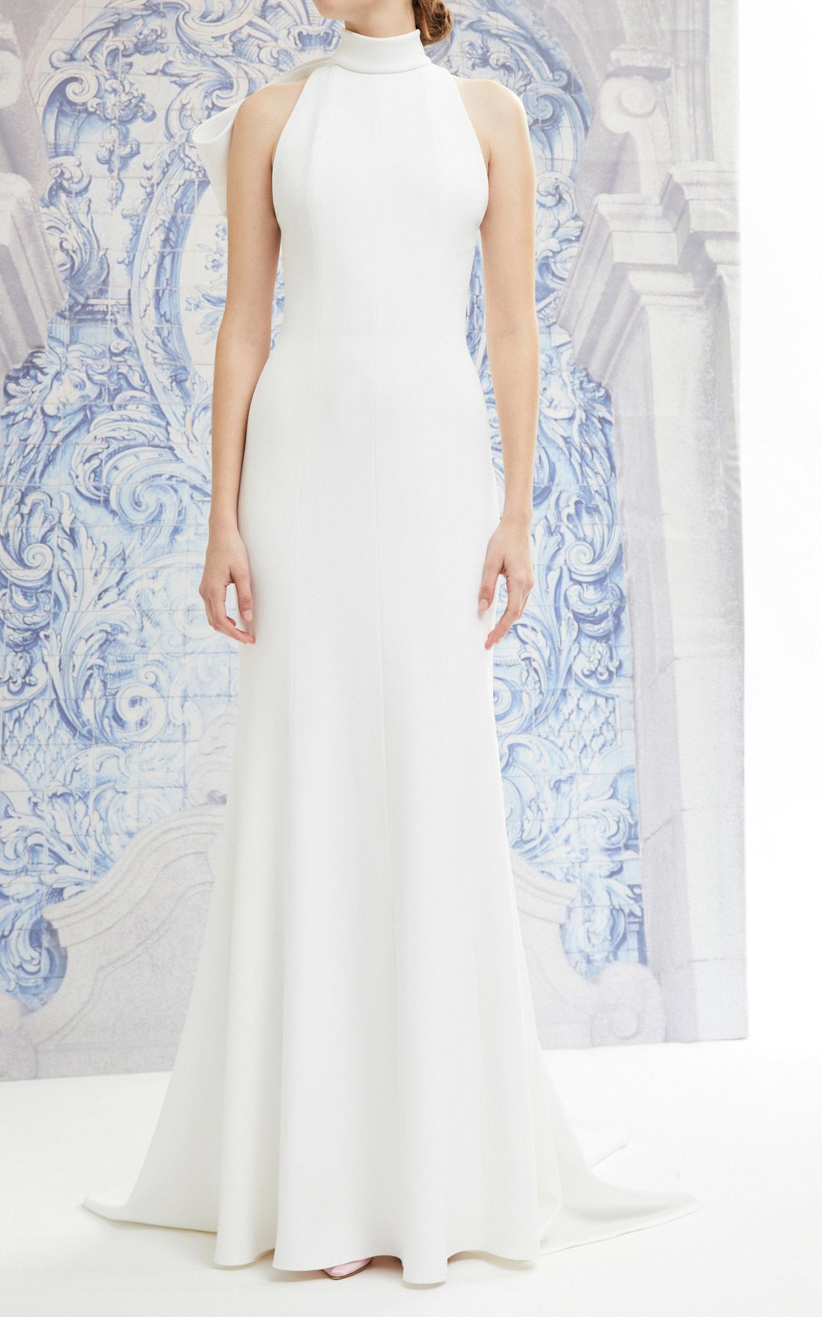 Iris Bow Detailed Crepe Halterneck Gown By Carolina Herrera Bridal Moda Operandi,Badgley Mischka Wedding Dress