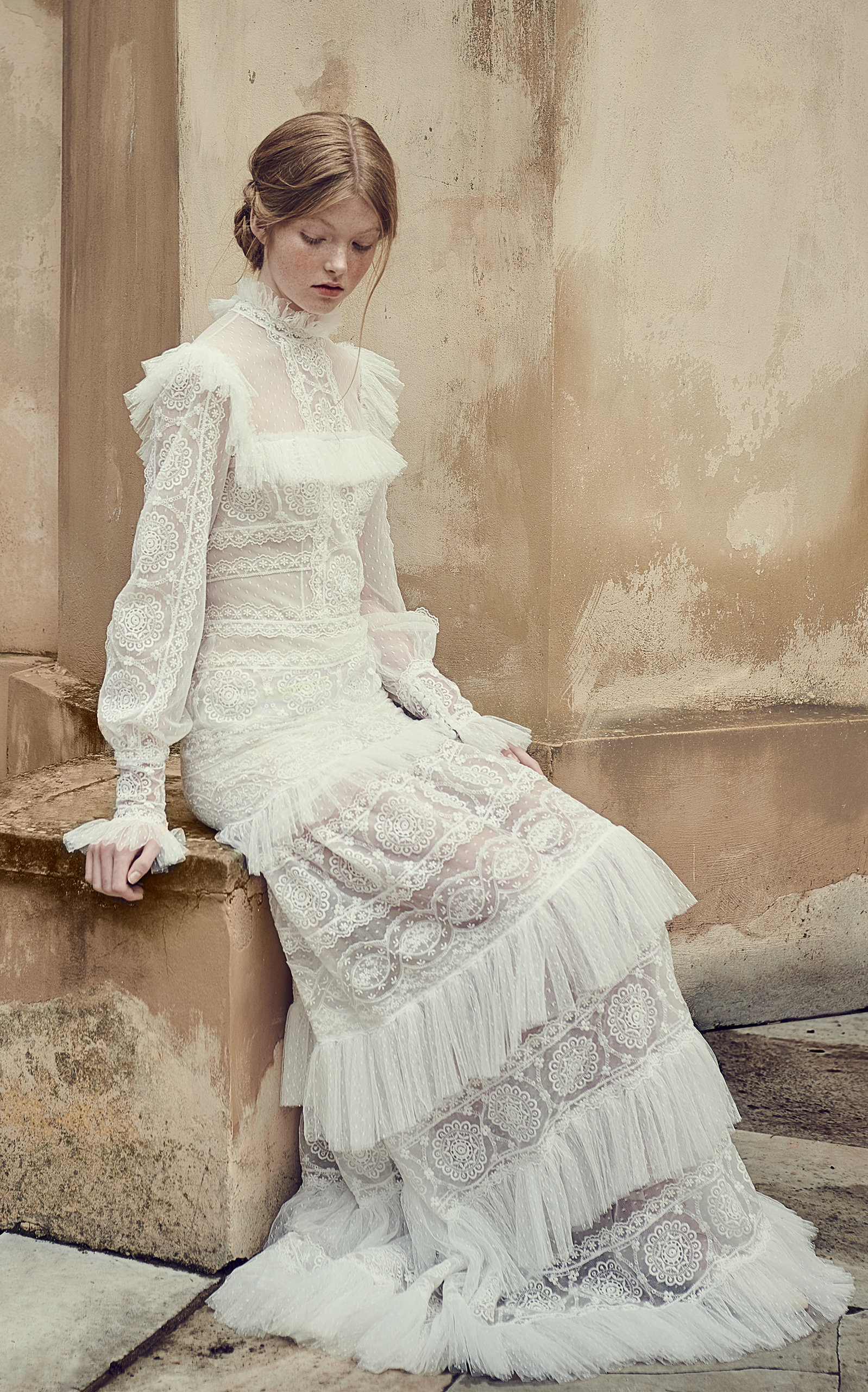 Buy Costarellos Bridal Mock-neck Ruffled Mesh Dress online, shop Costarellos Bridal at the best price