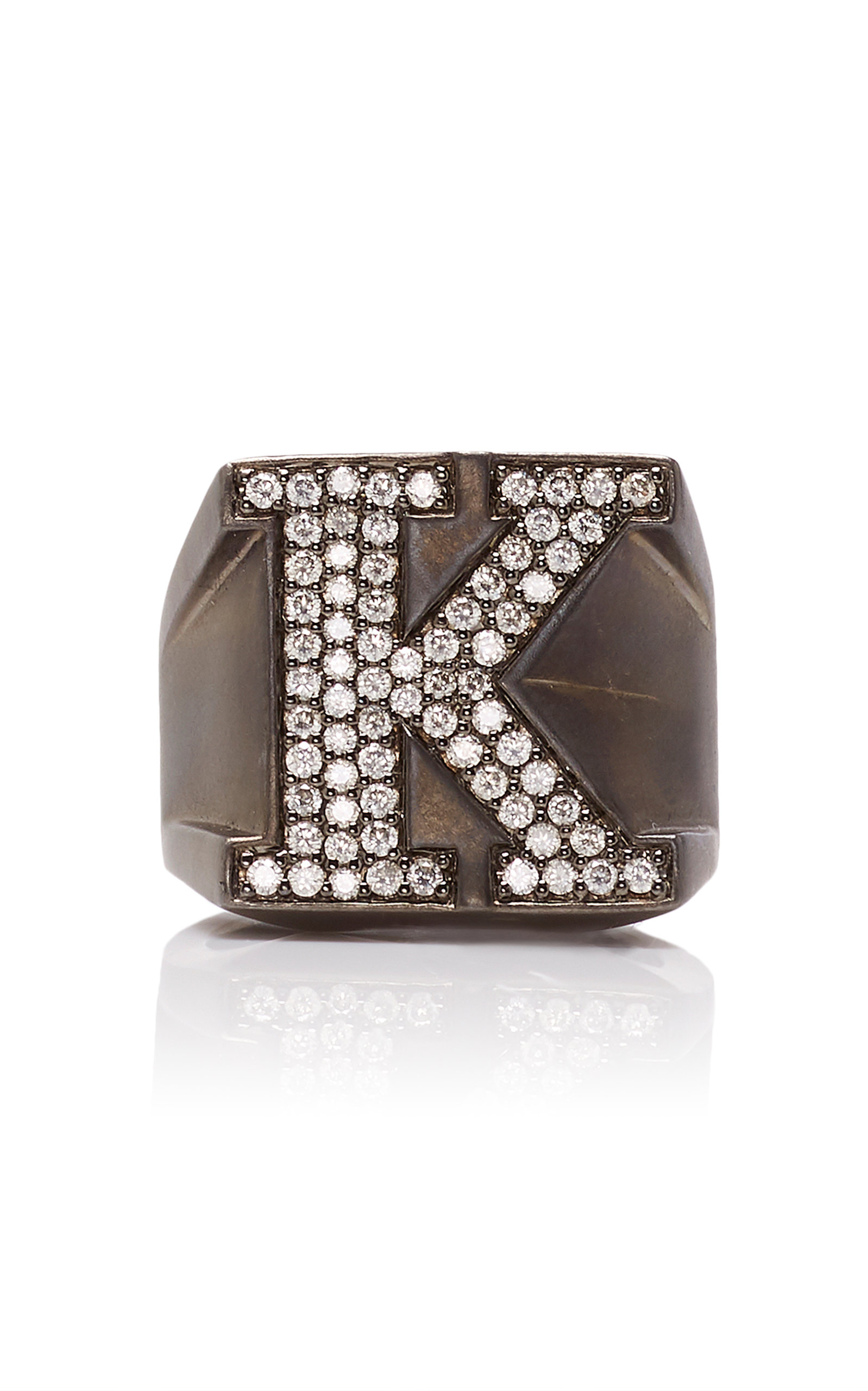 Women's Rhodium-Plated Silver Diamond Ring