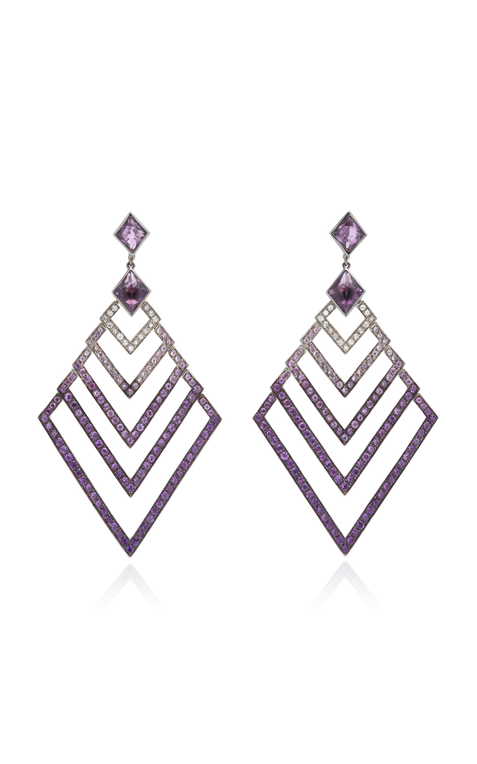 Women's Black Rhodium-Plated Silver; Amethyst And Sapphire Earrings