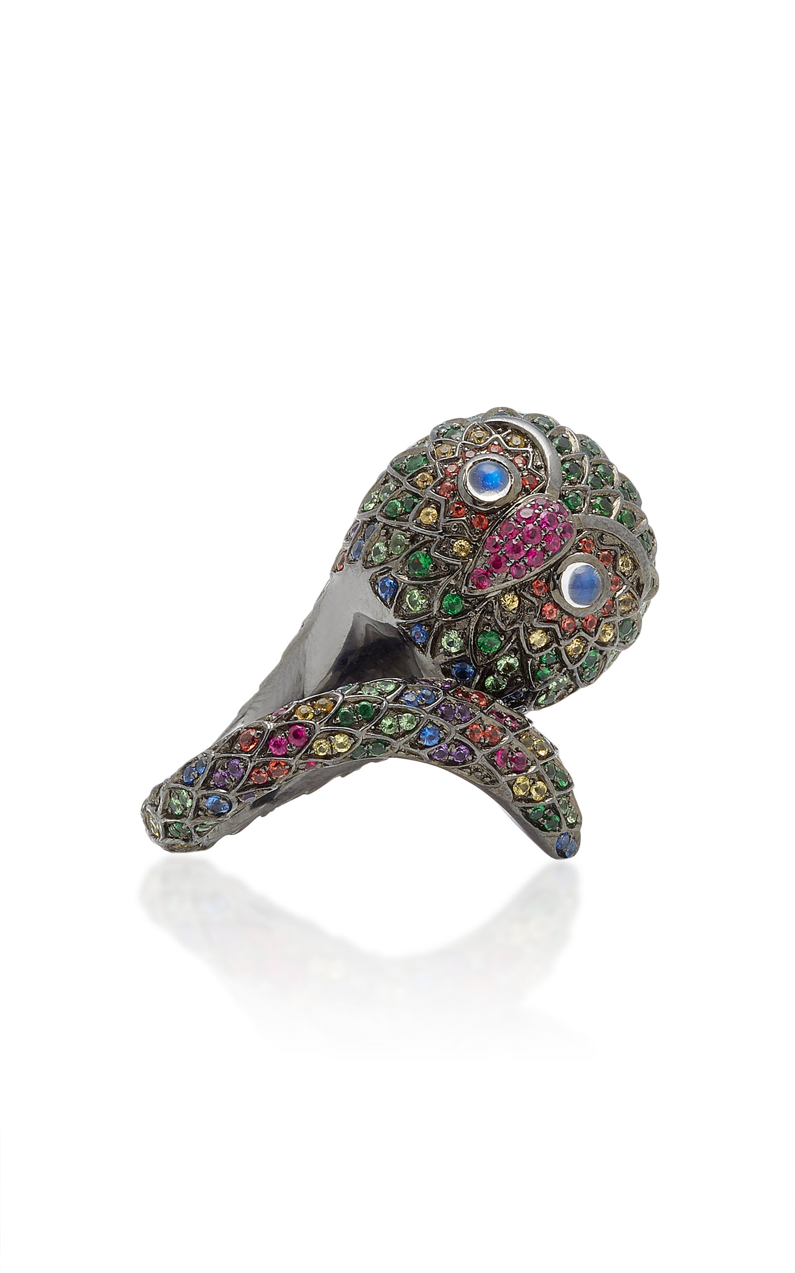 Women's Black Rhodium-Plated Silver And Multi-Stone Ring