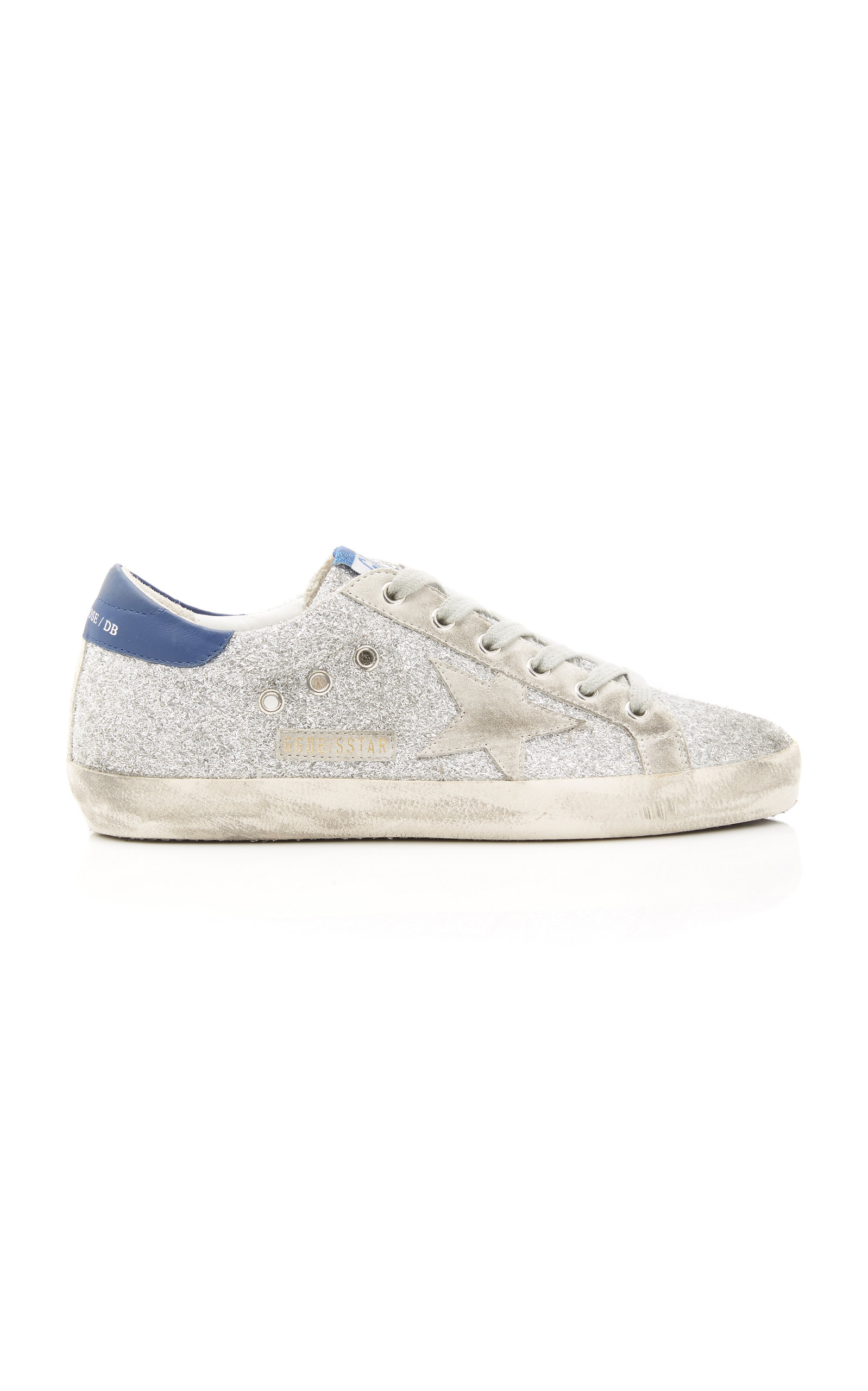 Golden Goose - Women's Superstar Glittered Distressed Leather And Suede Sneakers - Silver - Moda Operandi