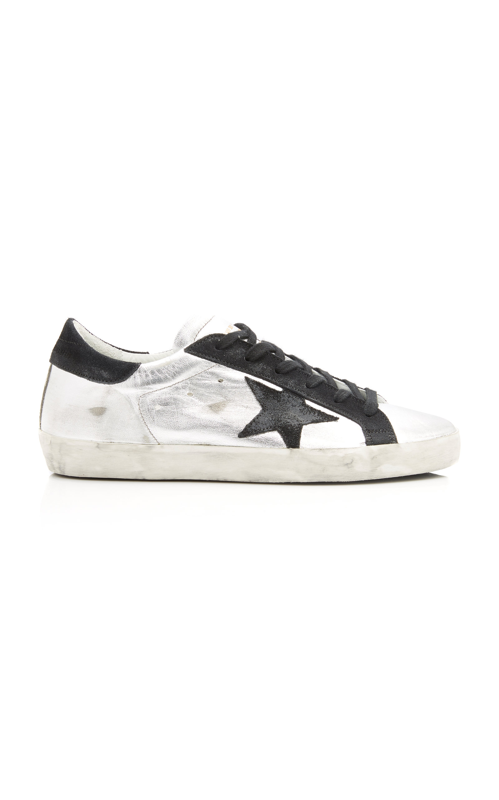 Golden Goose - Women's Superstar Distressed Two-Tone Leather And Suede Sneakers - Silver - Moda Operandi