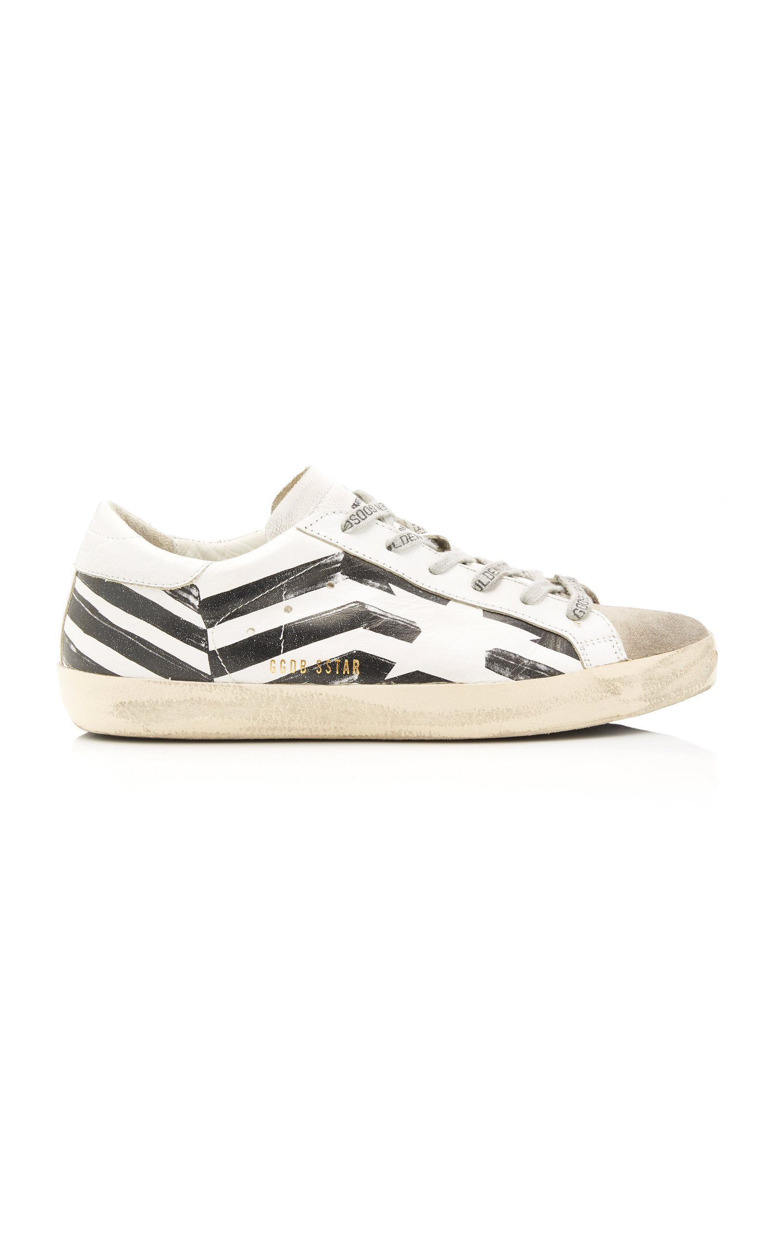 Golden Goose - Women's Superstar Striped Leather And Suede Sneakers - Black/white - Moda Operandi