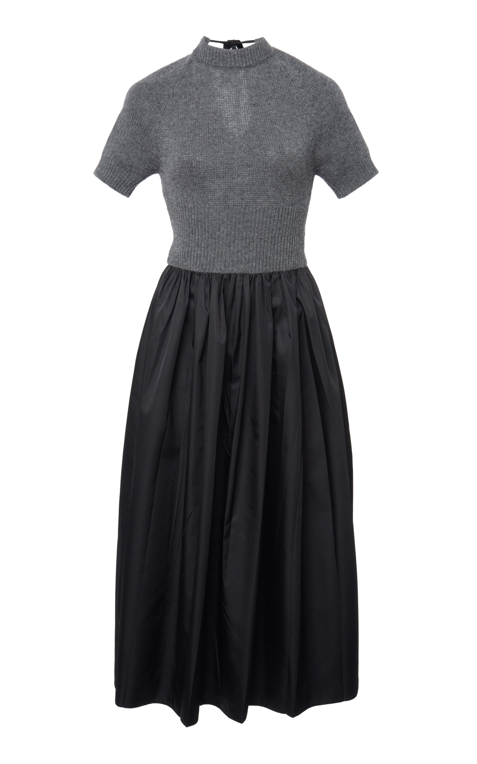 Buy Prada Two-Tone Cashmere And Shell Midi Dress online, shop Prada at the best price
