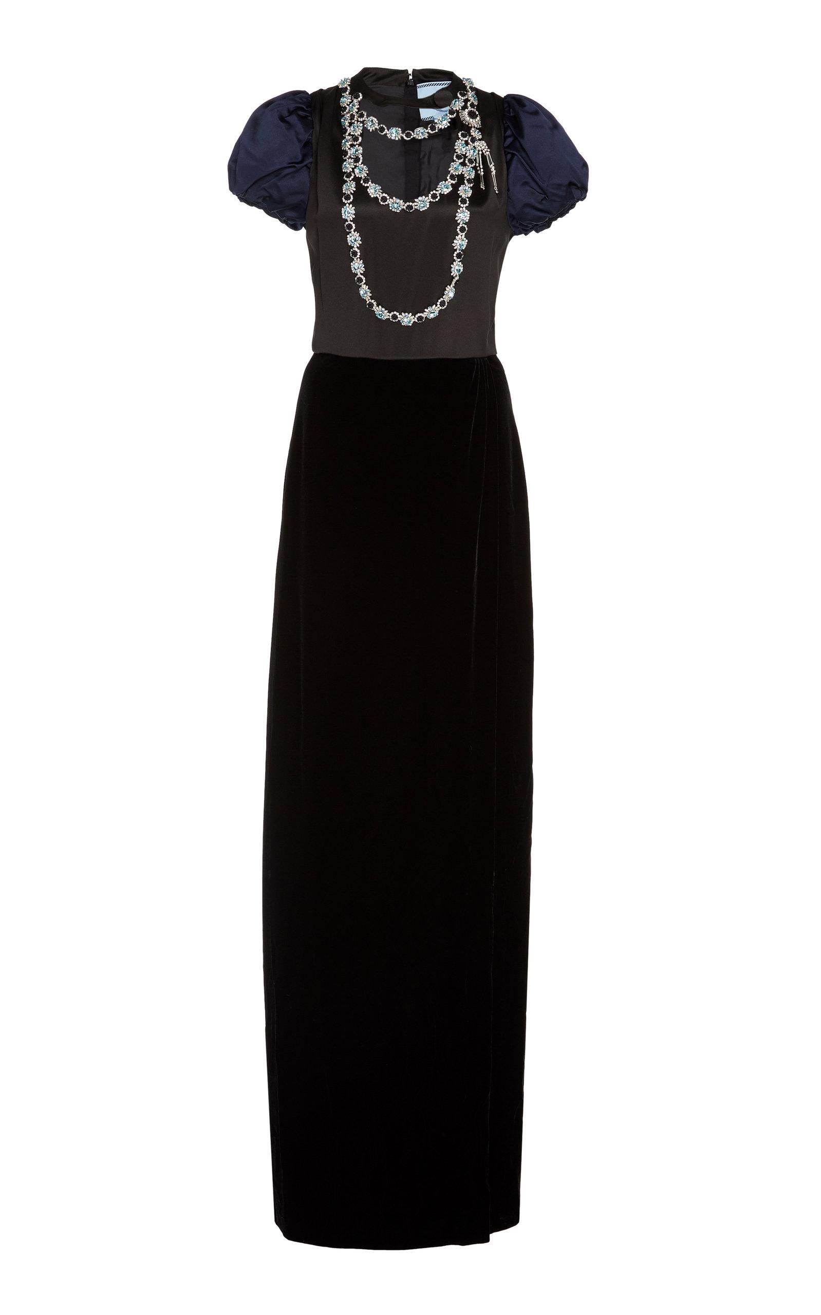 Buy Prada Embellished Satin-Paneled Velvet Gown online, shop Prada at the best price