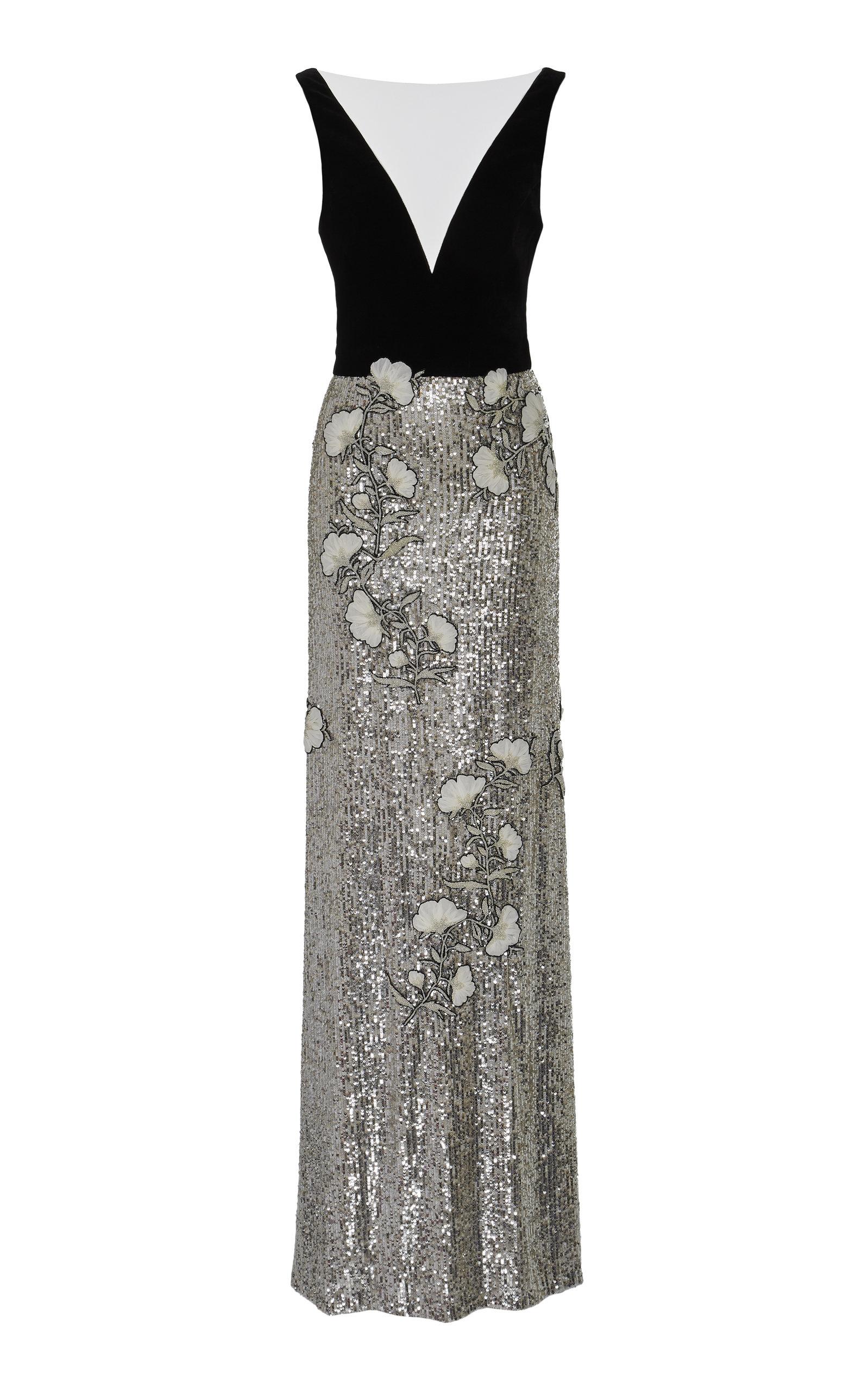Buy Monique Lhuillier Velvet-Paneled Floral-Appliquéd Silk Gown online, shop Monique Lhuillier at the best price