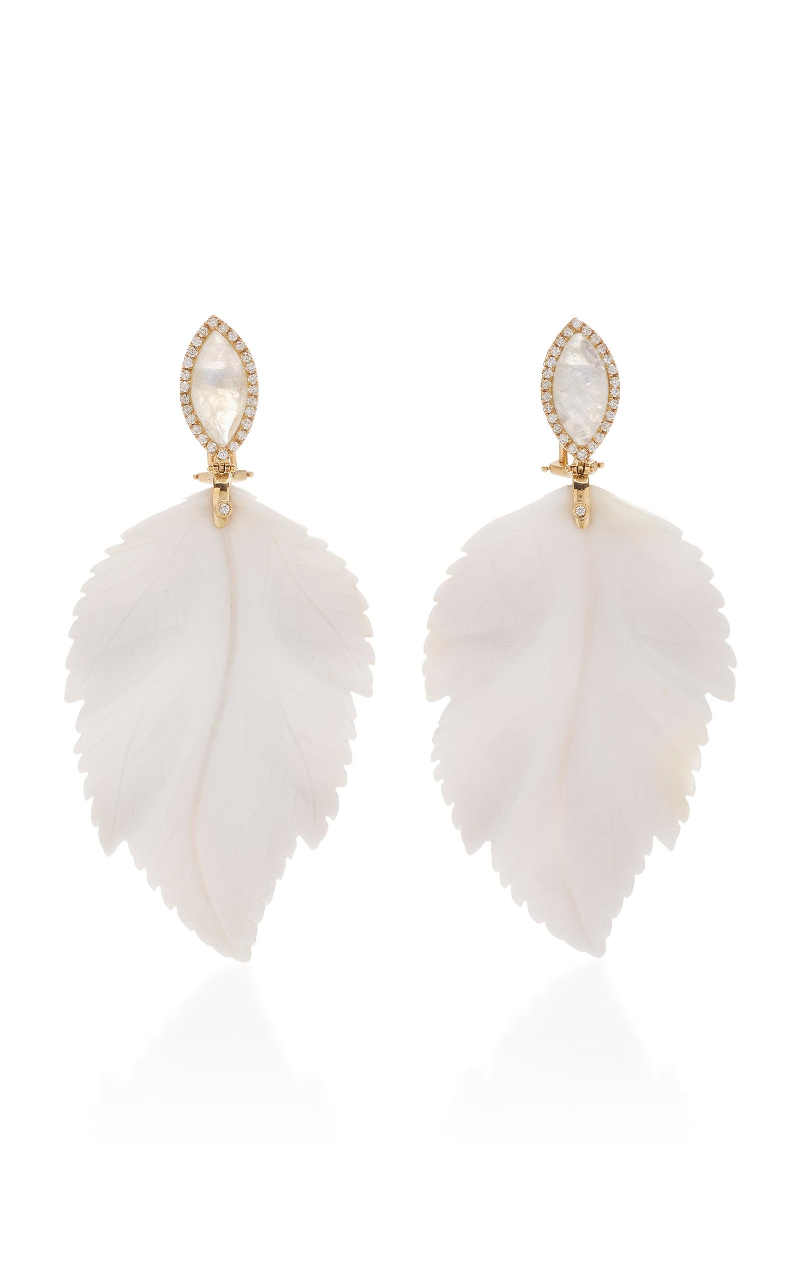 Casa Castro - Women's Moon Earrings - White - Moda Operandi