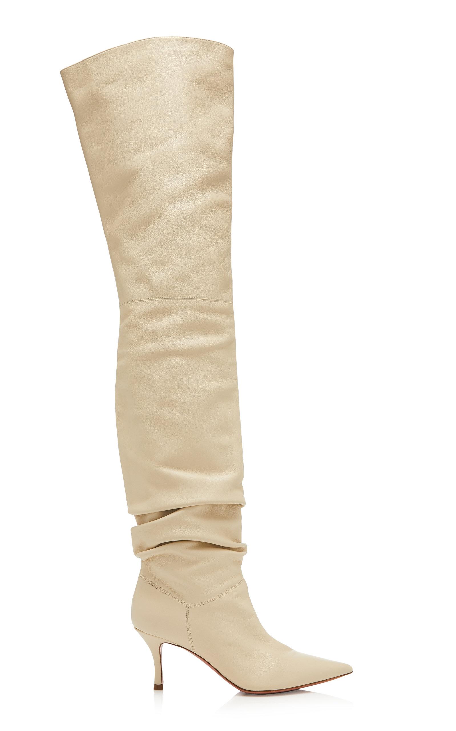Amina Muaddi – Women's Barbara Leather Over-The-Knee Boots – White – Moda Operandi