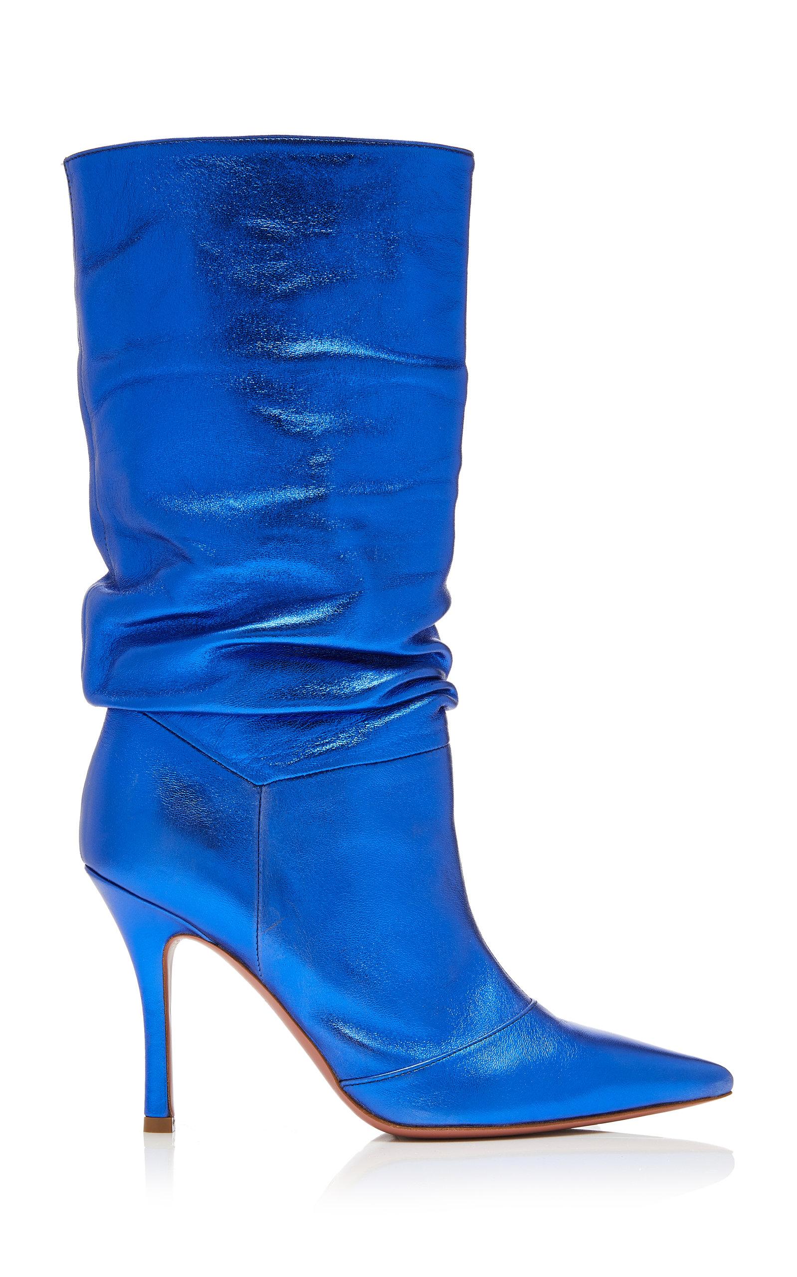 Amina Muaddi – Women's Ida Metallic Leather Knee Boots – Blue – Moda Operandi