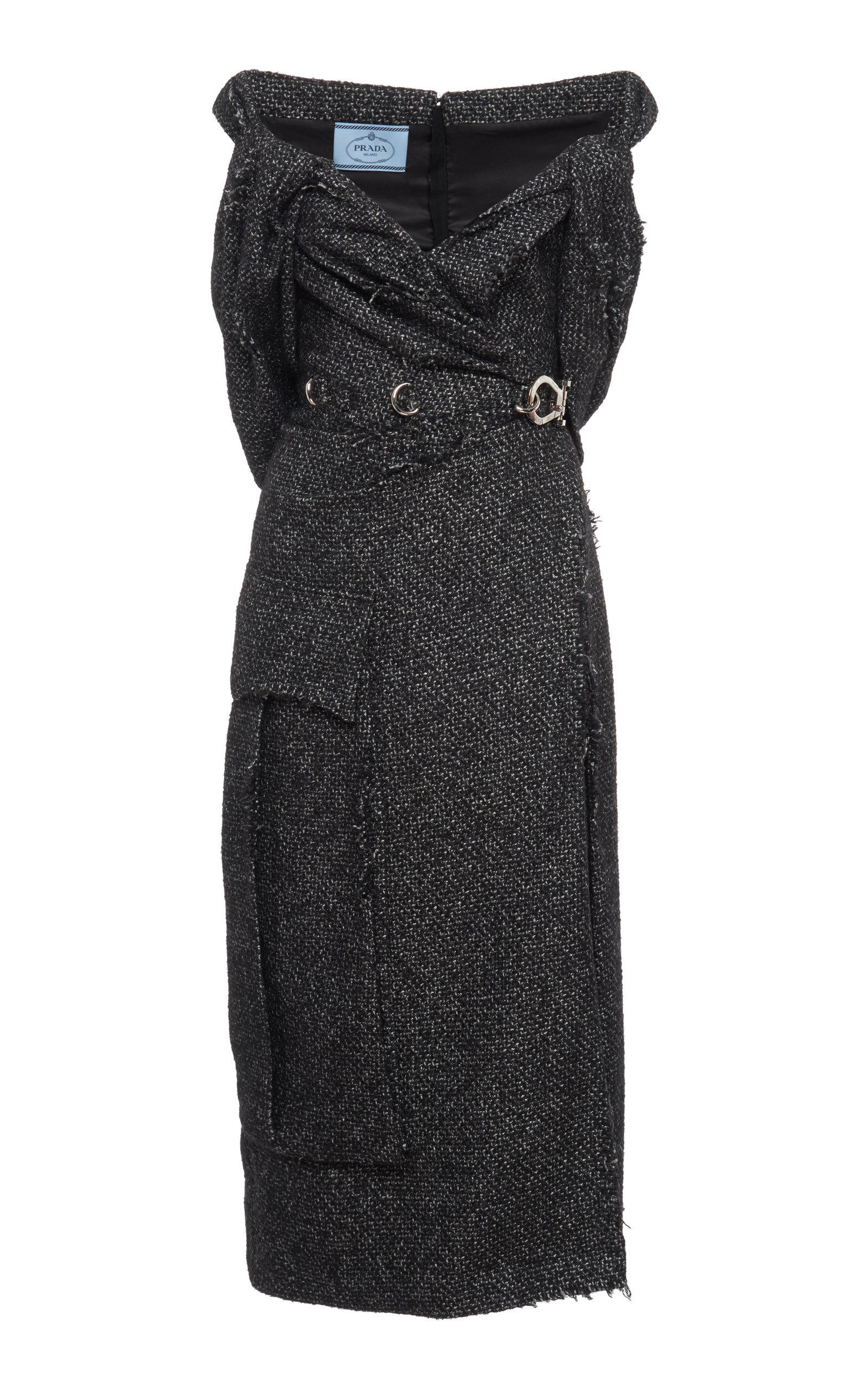 Buy Prada Off-The-Shoulder Wool-Blend Tweed Midi Dress online, shop Prada at the best price