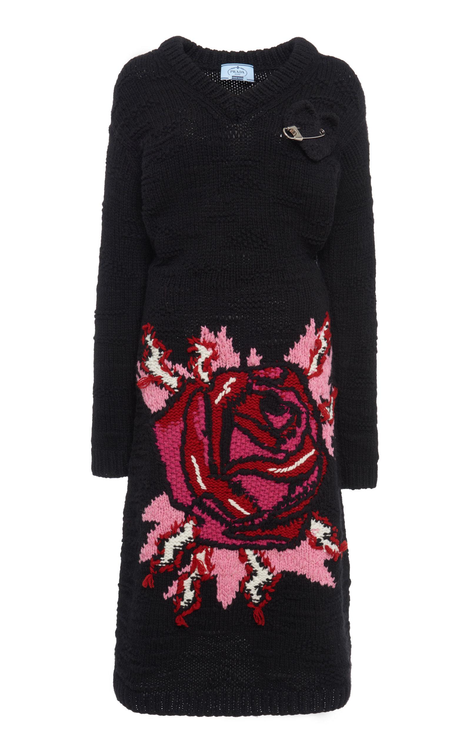 Buy Prada Embellished Intarsia-Knit Wool Midi Dress online, shop Prada at the best price