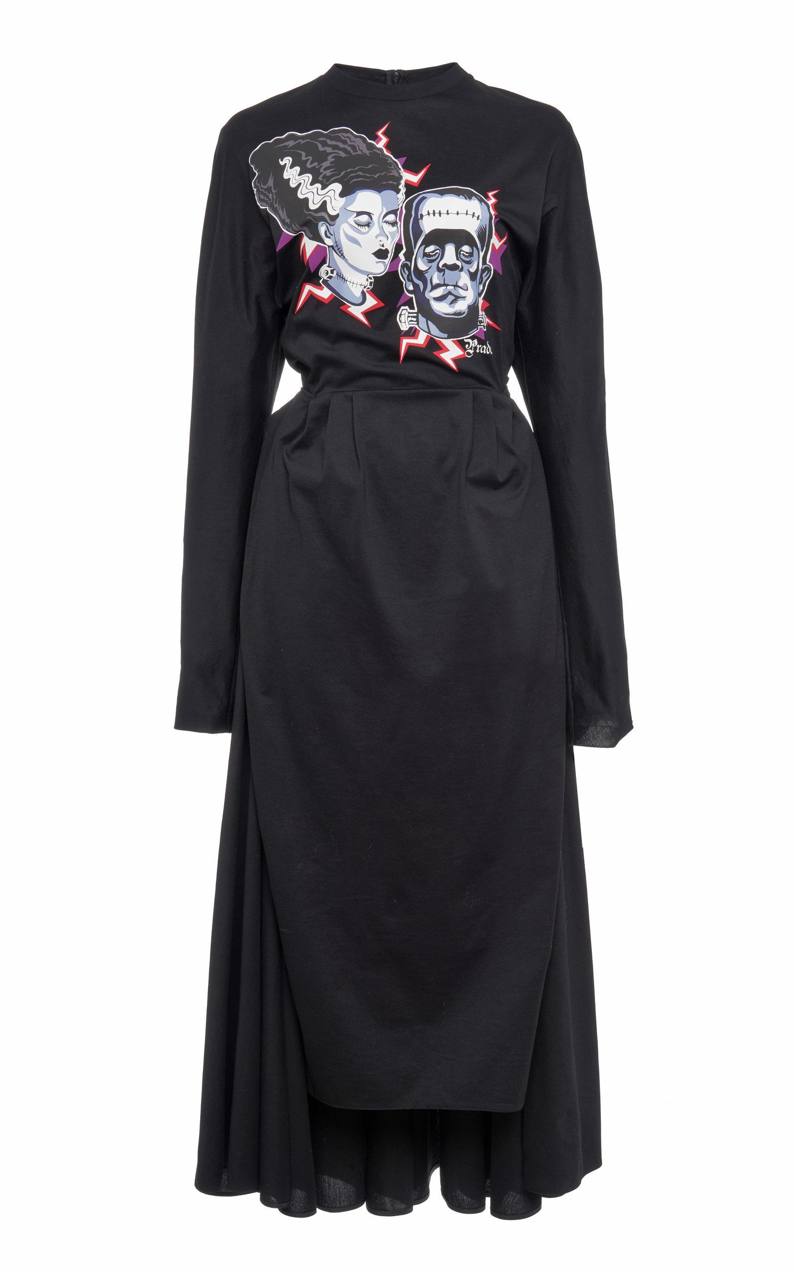 Buy Prada Asymmetric Printed Cotton-Poplin Dress online, shop Prada at the best price