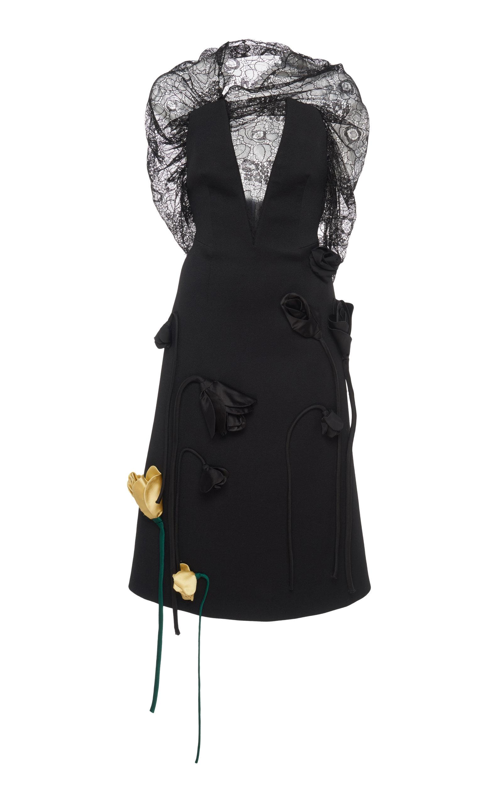 Buy Prada Deep V-Neck Lace Appliqué Midi Dress online, shop Prada at the best price