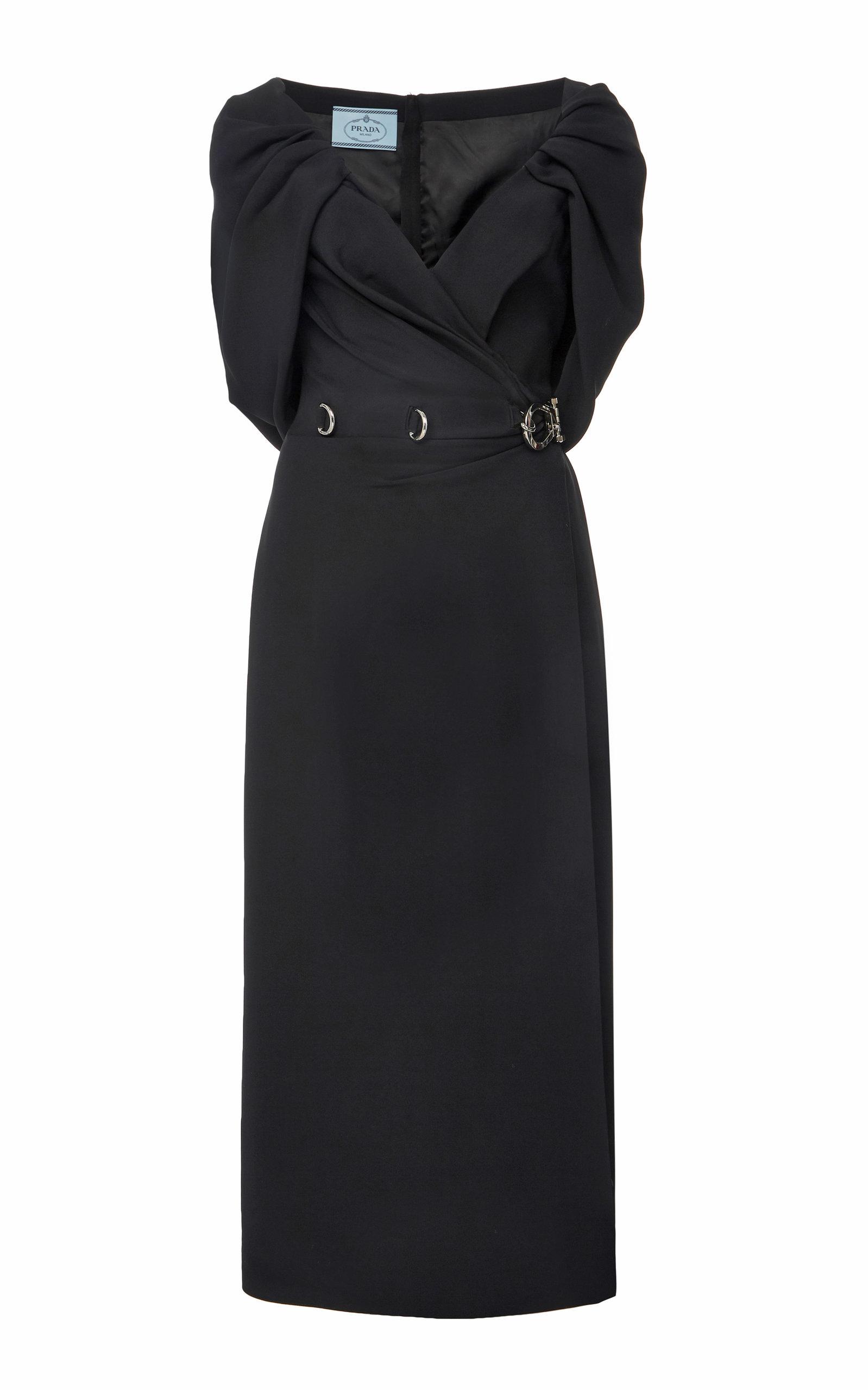 Buy Prada Draped Cady Midi Dress online, shop Prada at the best price