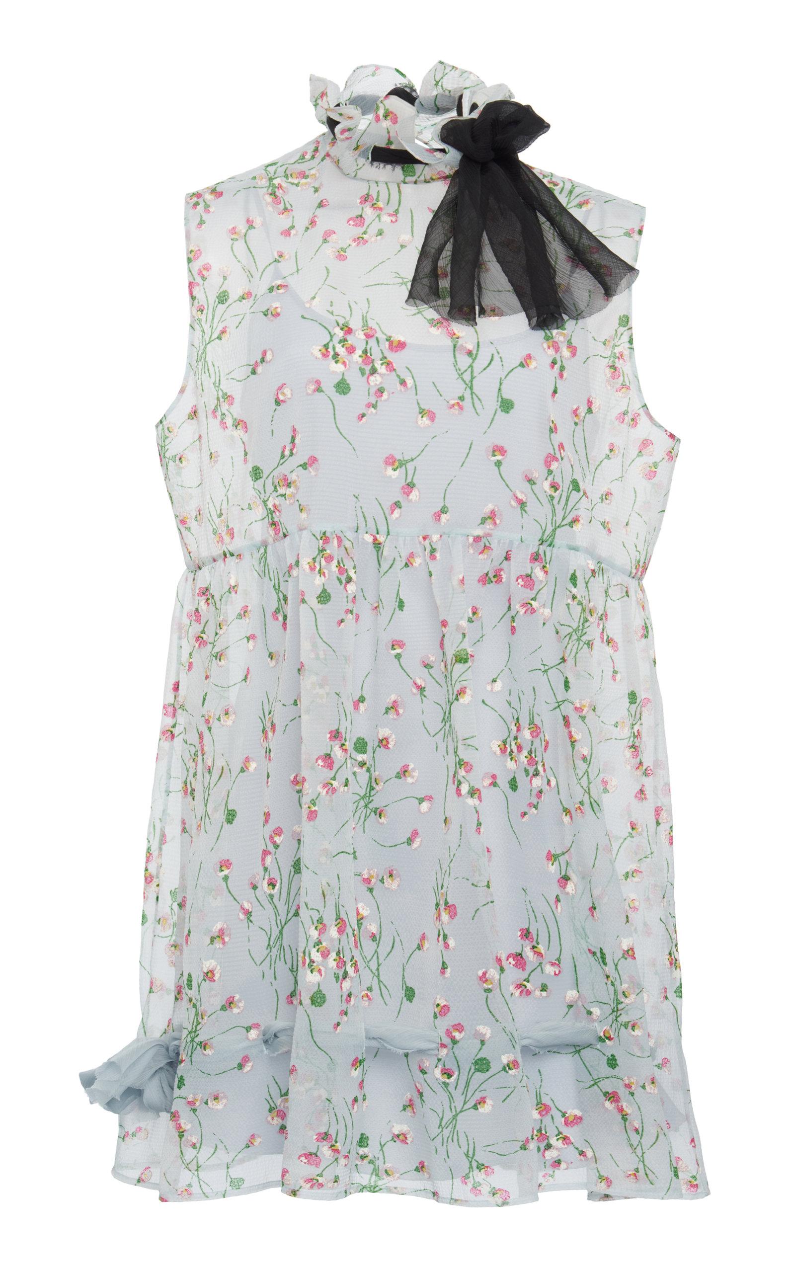 Buy Miu Miu Tie-Detailed Floral-Print Georgette Mini Dress online, shop Miu Miu at the best price