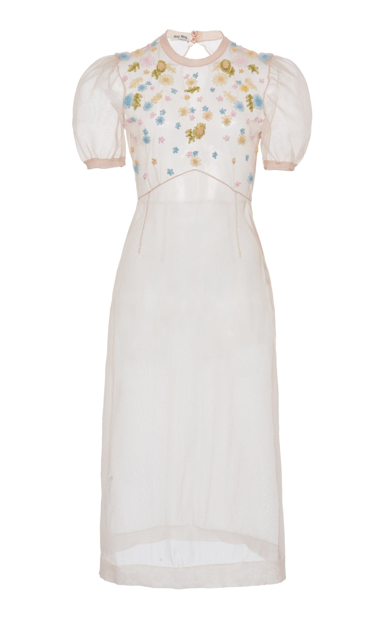 Buy Miu Miu Sheer Organza Short Sleeve Dress online, shop Miu Miu at the best price