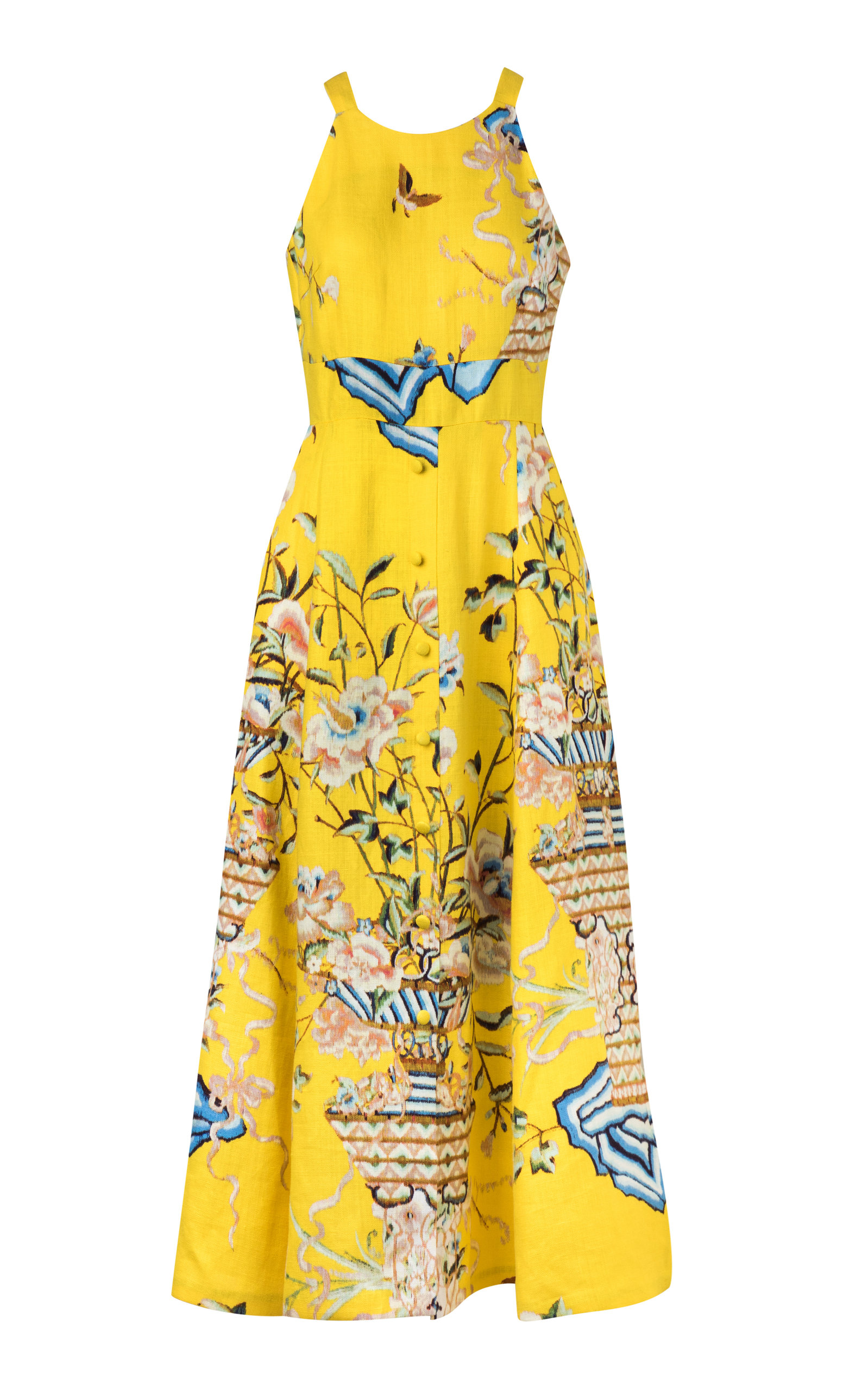 Buy Maison Alma Exclusive Embroidered Linen Midi Dress online, shop Maison Alma at the best price