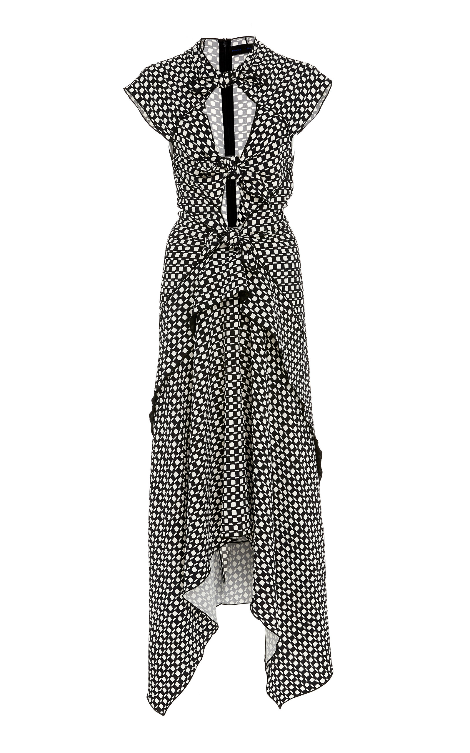 Buy Proenza Schouler Tie-Detailed Cut-Out Printed Crepe Midi Dress online, shop Proenza Schouler at the best price