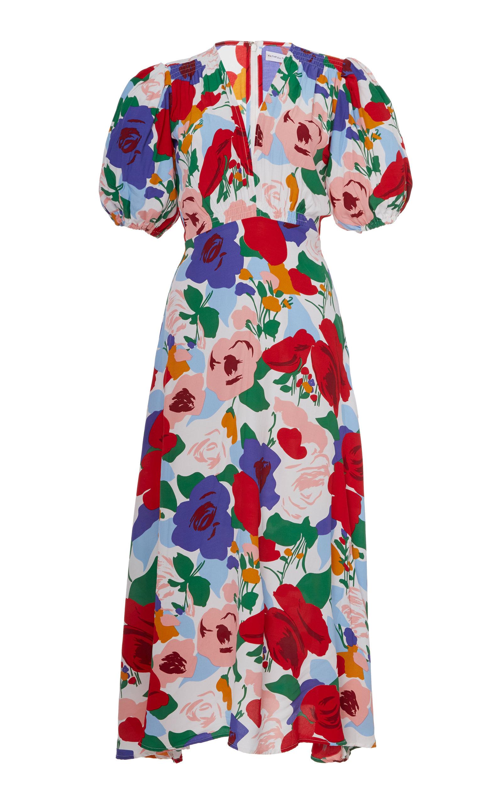 Buy Faithfull The Brand Vittoria Floral Crepe Midi Dress online, shop Faithfull The Brand at the best price