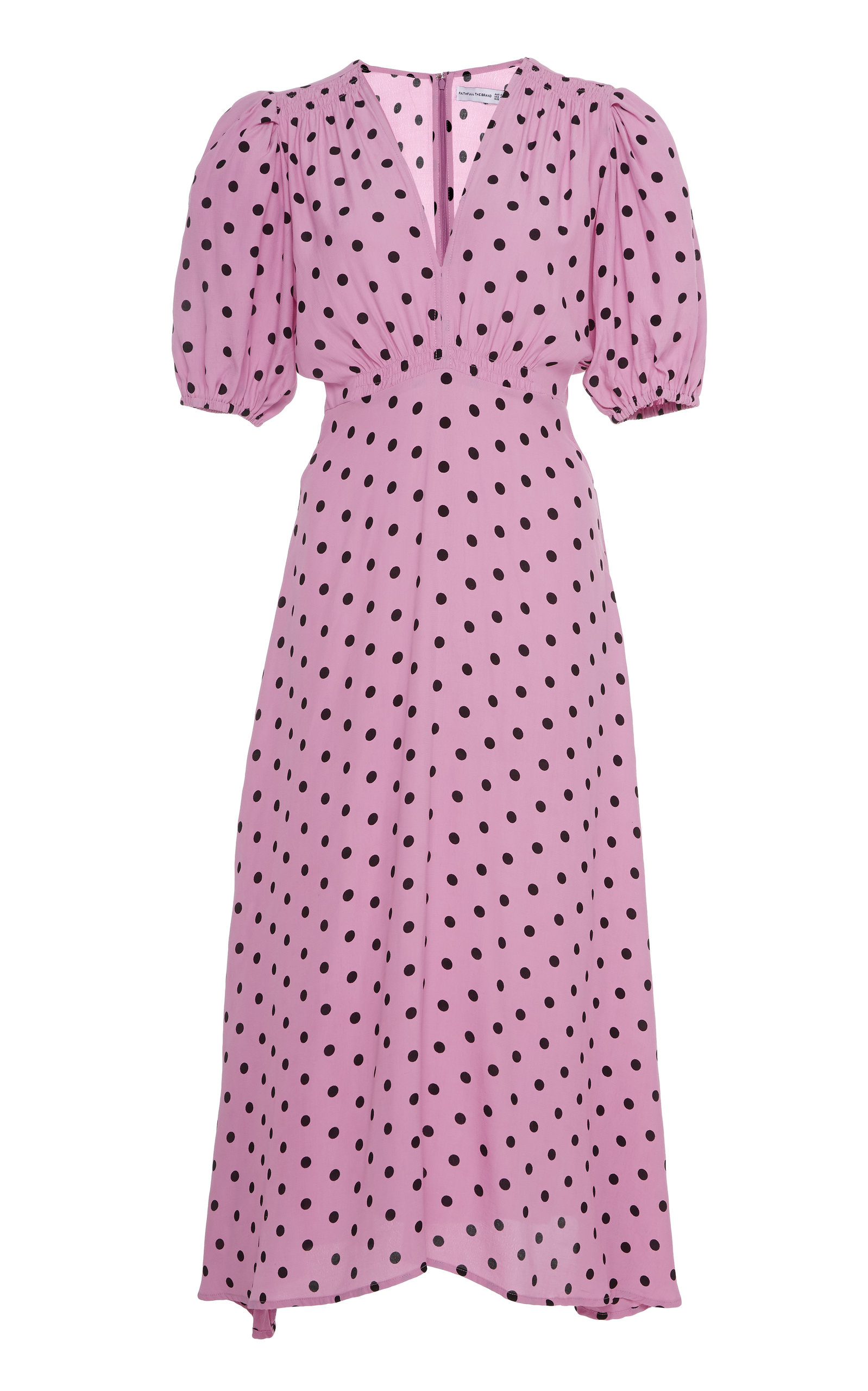 Buy Faithfull The Brand Vittoria Polka Dot Crepe Midi Dress online, shop Faithfull The Brand at the best price