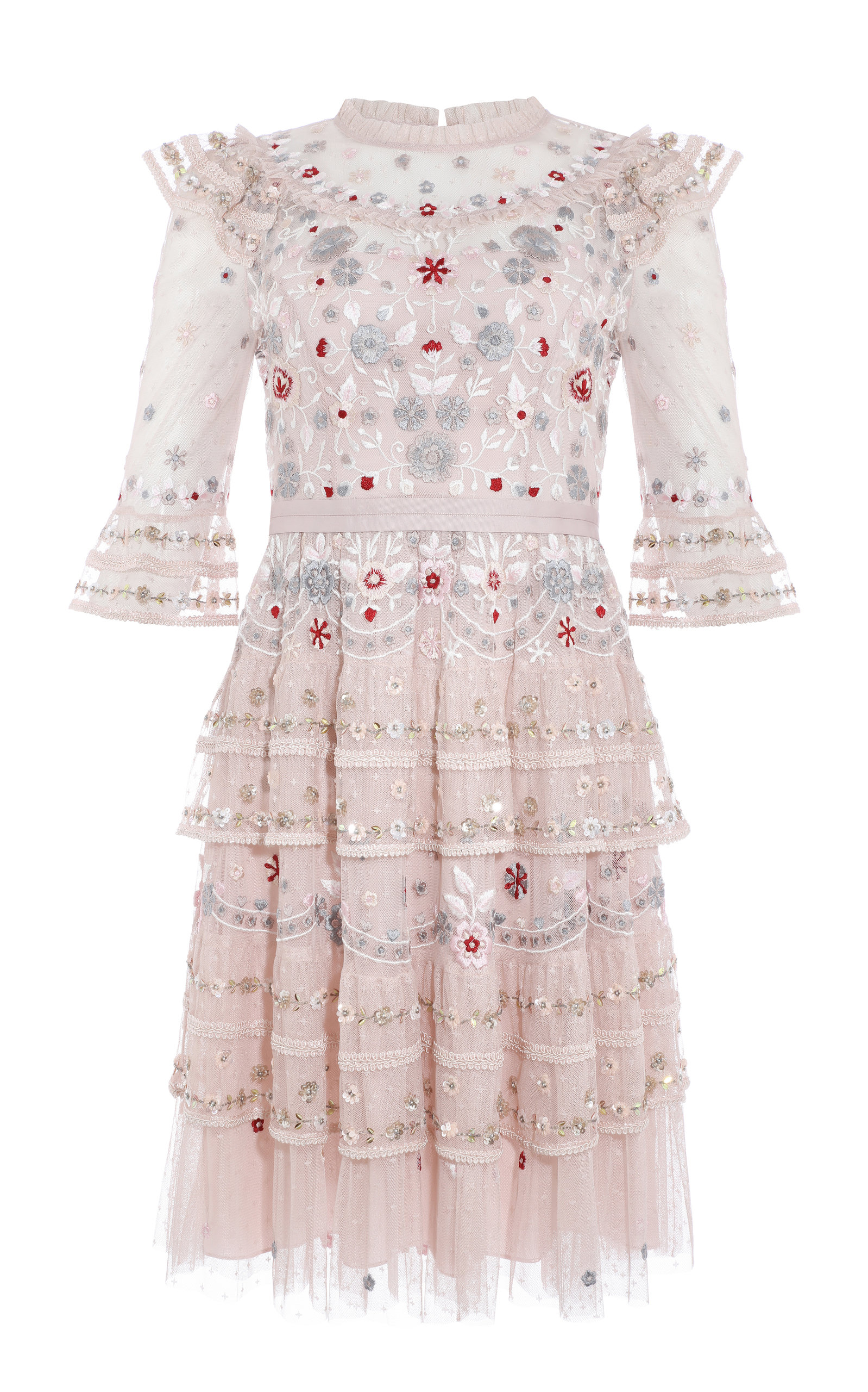Buy Needle & Thread Eden Ruffled Floral-Embroidered Tulle Mini Dress online, shop Needle & Thread at the best price