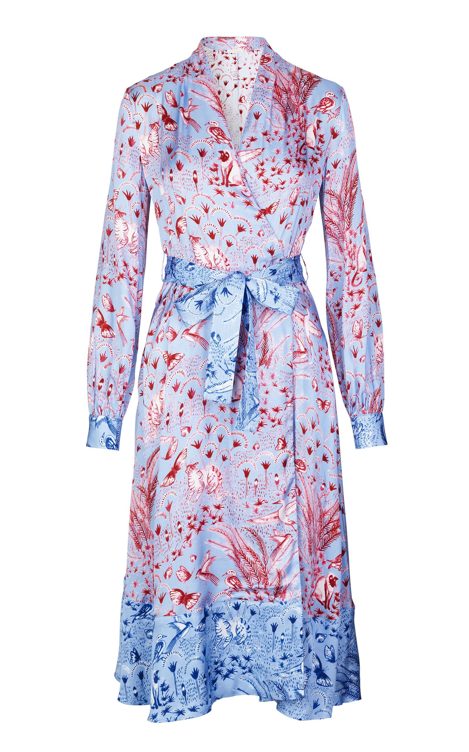 Buy Stine Goya Reflection Belted Floral-Print Satin Midi Dress online, shop Stine Goya at the best price