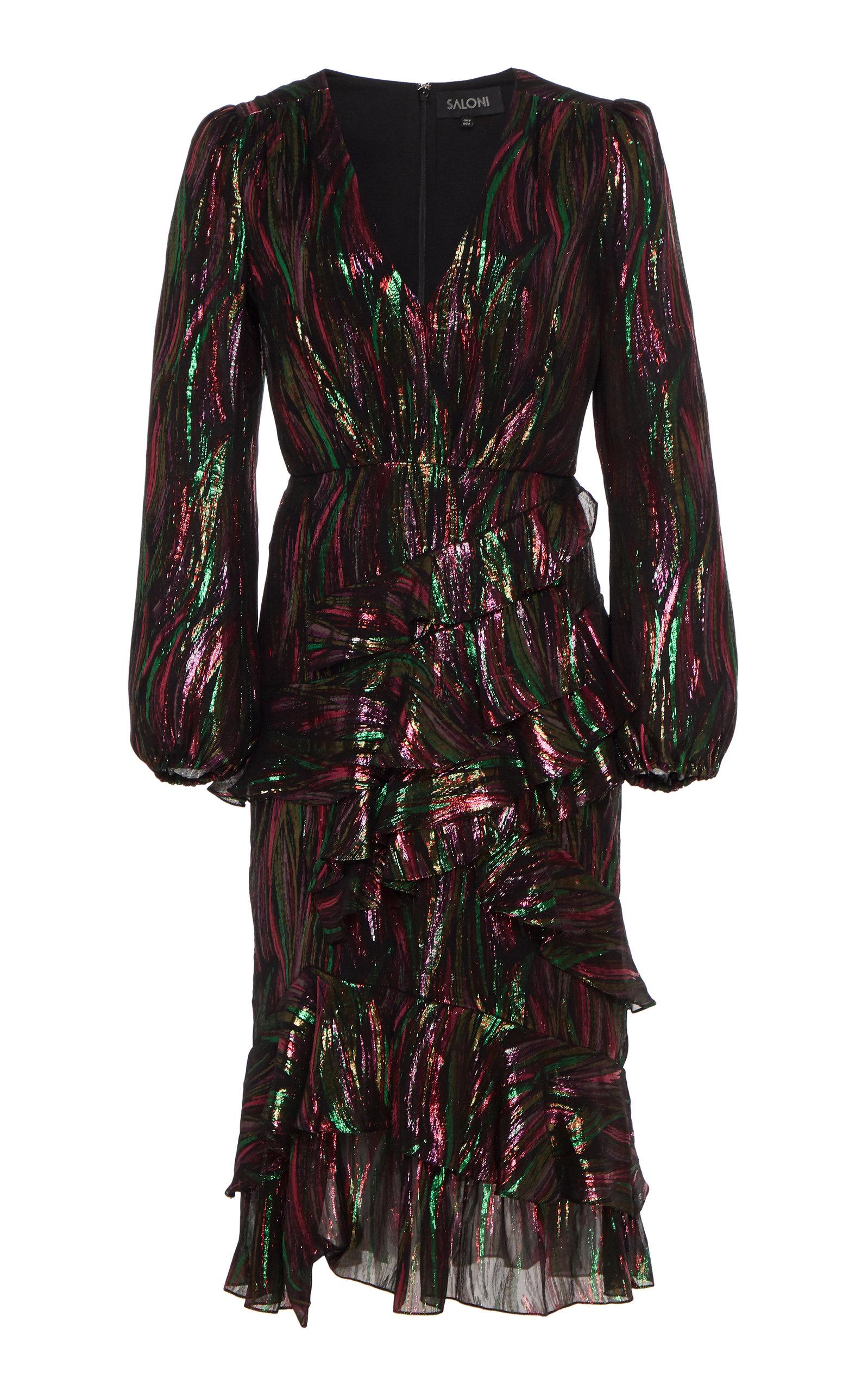 Buy Saloni Alya Ruffled Silk-Blend Lurex Midi Dress online, shop Saloni at the best price