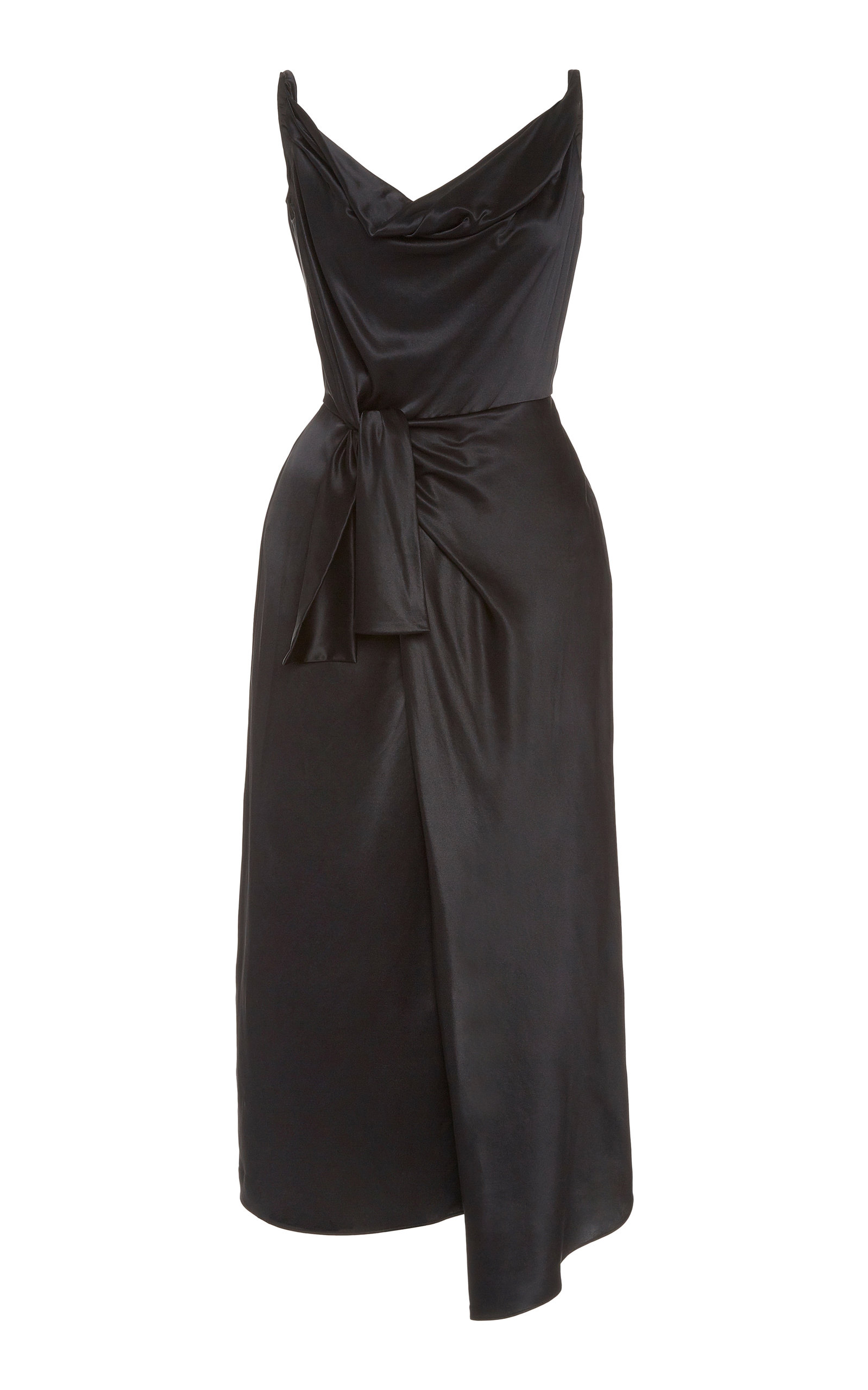 Buy Saloni Giselle Wrap-Effect Silk-Satin Midi Dress online, shop Saloni at the best price