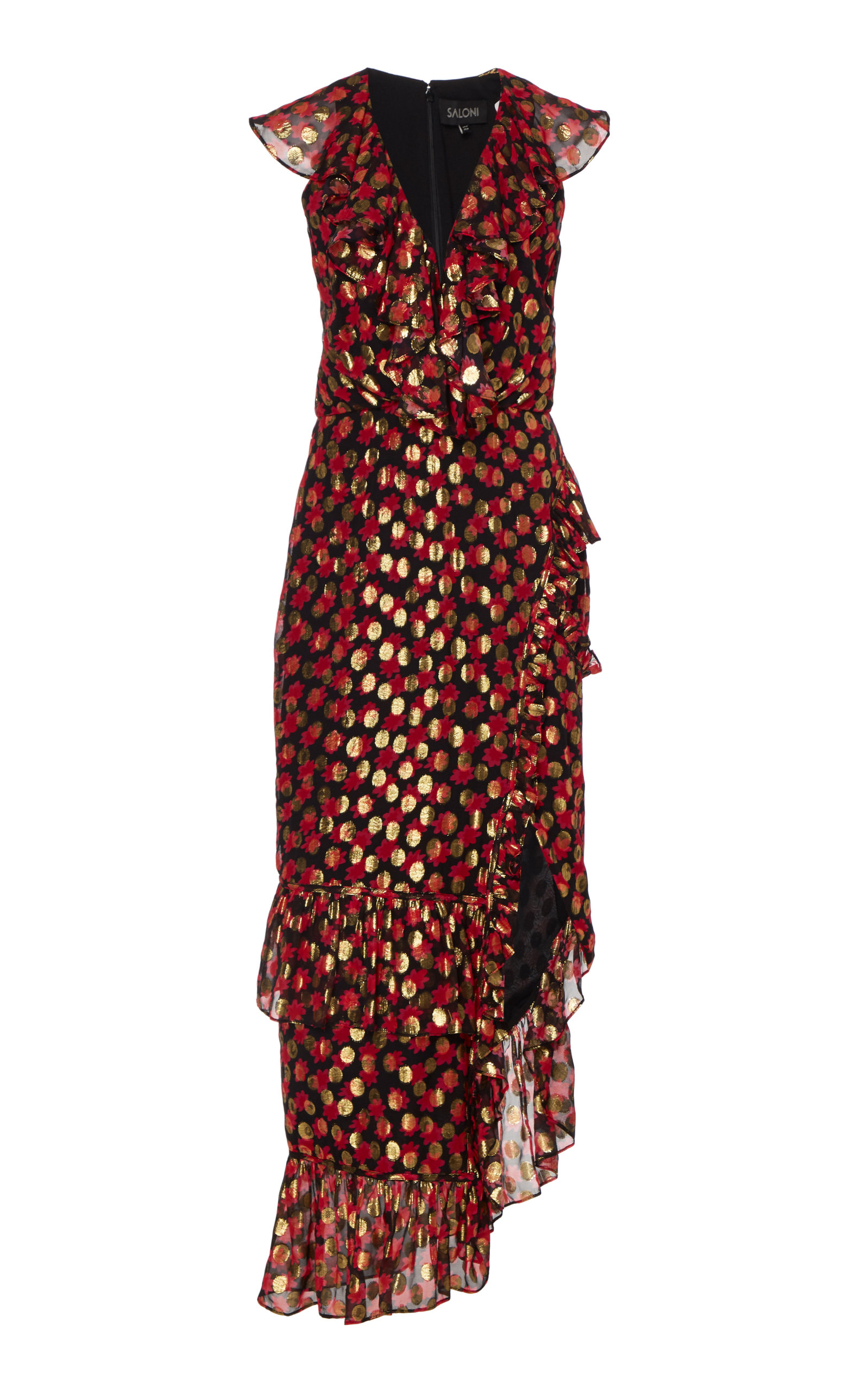 Buy Saloni Anita Ruffled Fil Coupé Chiffon Midi Dress online, shop Saloni at the best price