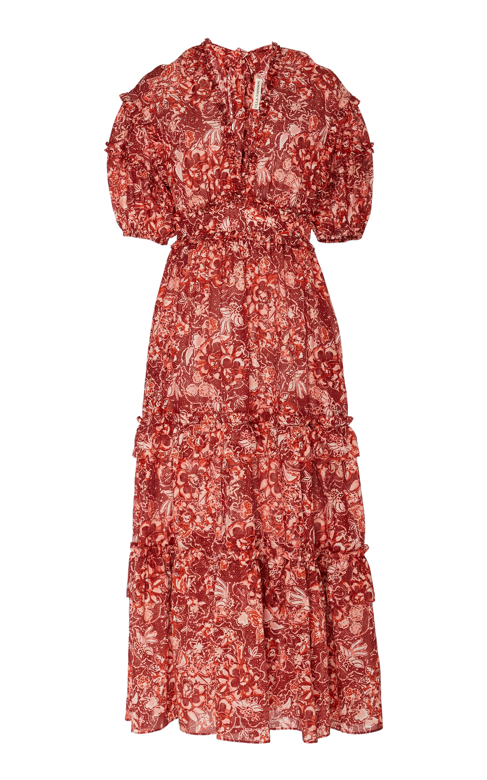 Buy Ulla Johnson Amora Floral-Print Cotton-Blend Midi Dress online, shop Ulla Johnson at the best price