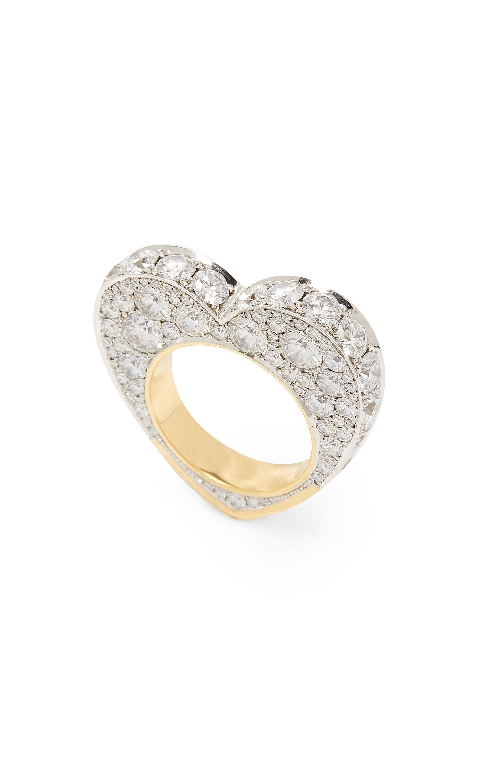 Women's 14K White And Yellow Gold And Diamond Ring