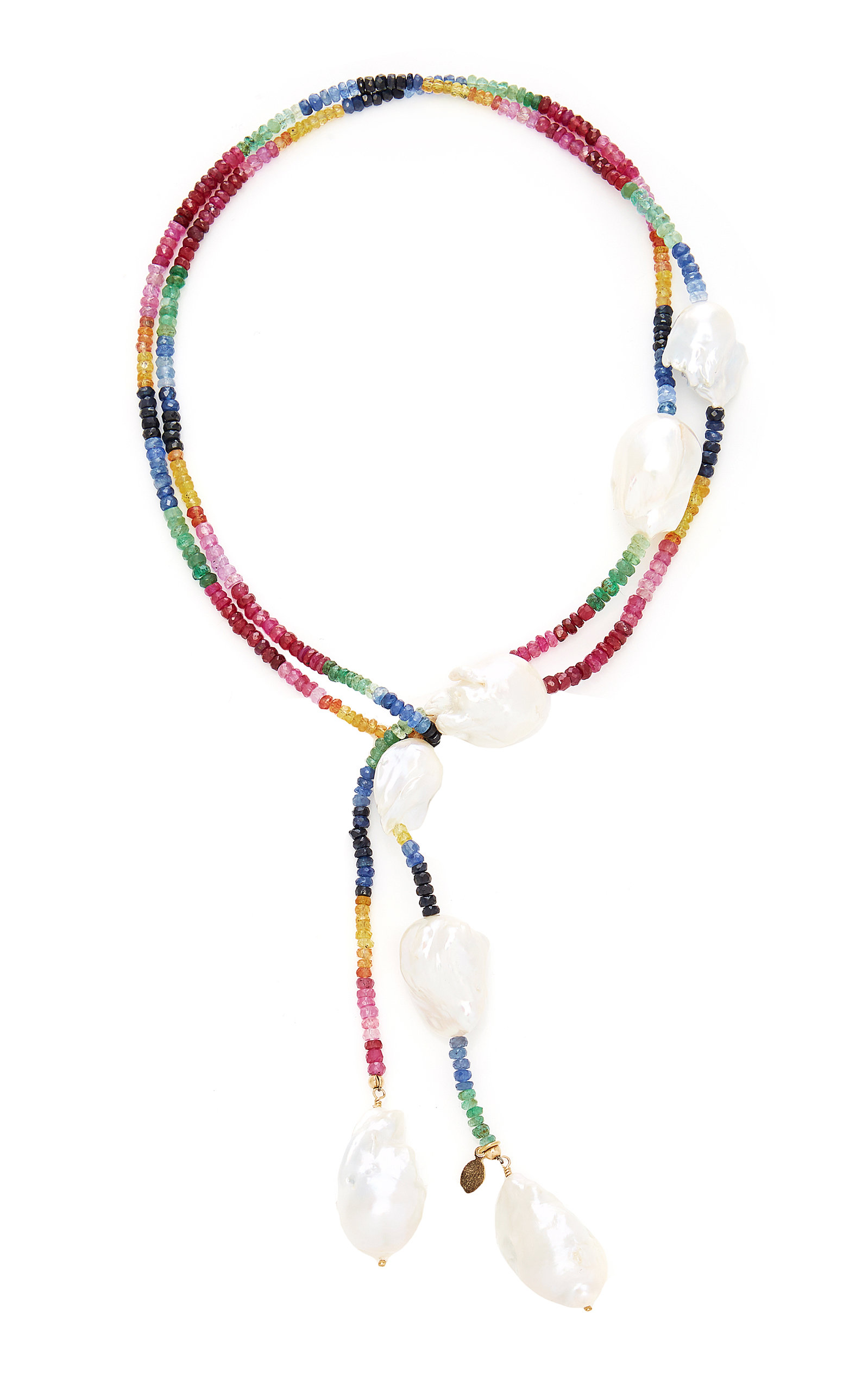 Women's Gold-Filled Ruby; Emerald and Sapphire and Pearl Necklace