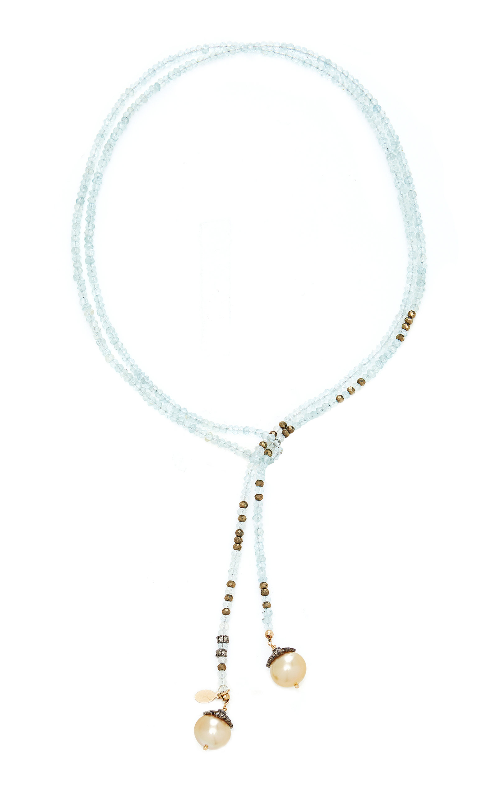 Women's 14K Gold; Aquamarine; Pyrite and Pearl Necklace