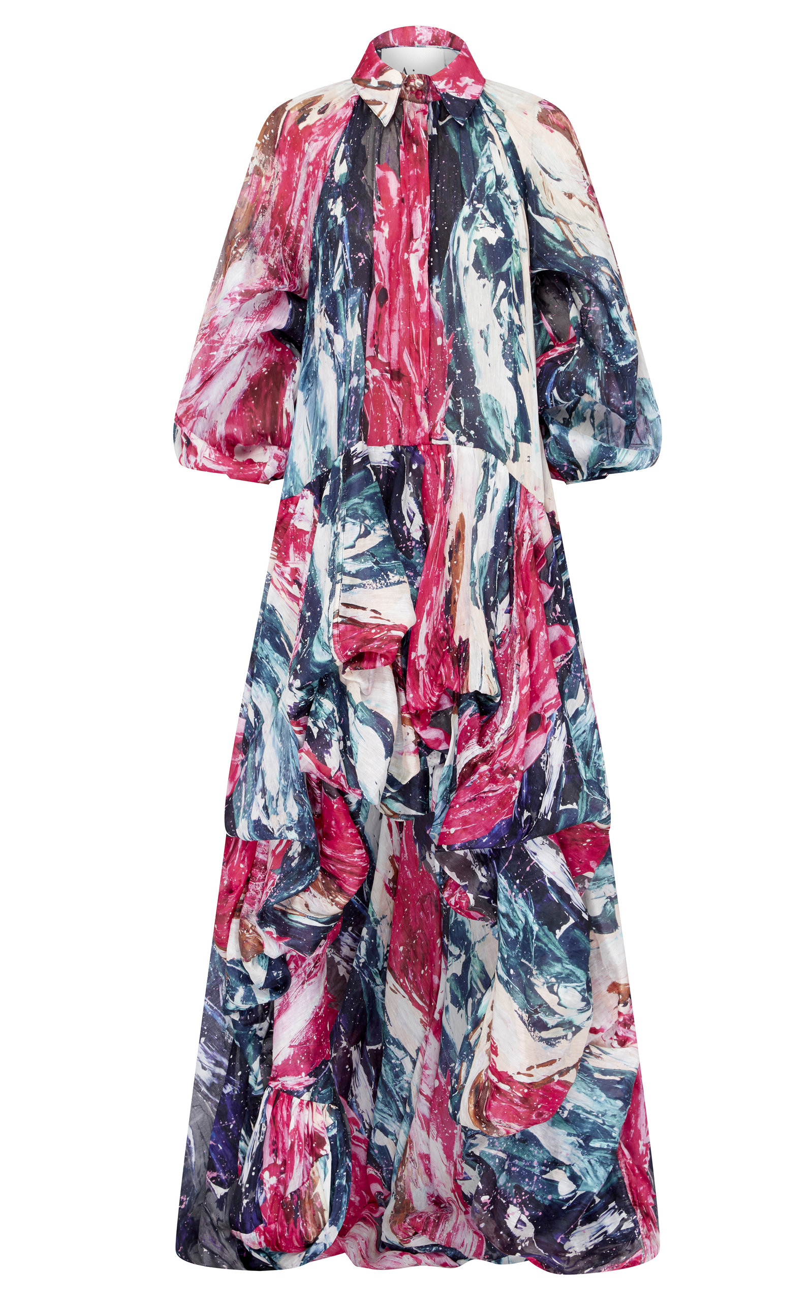 Buy Aje Salt Lake Printed Linen And Silk-Blend Gown online, shop Aje at the best price