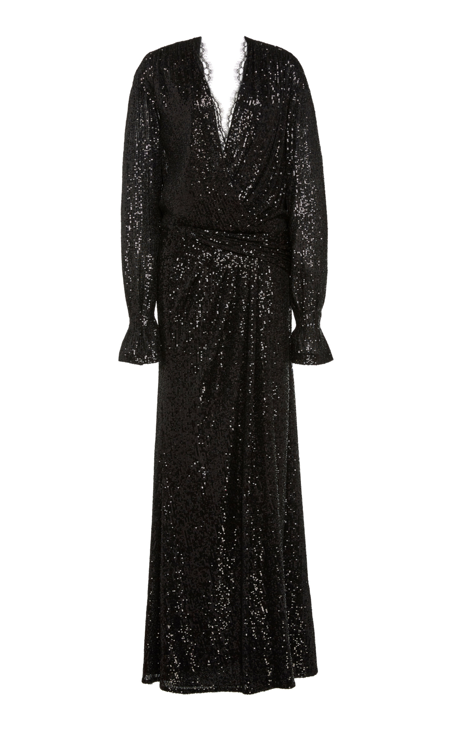 Buy Jonathan Simkhai Sequin Embroidered Long Sleeve Draped Front Gown online, shop Jonathan Simkhai at the best price