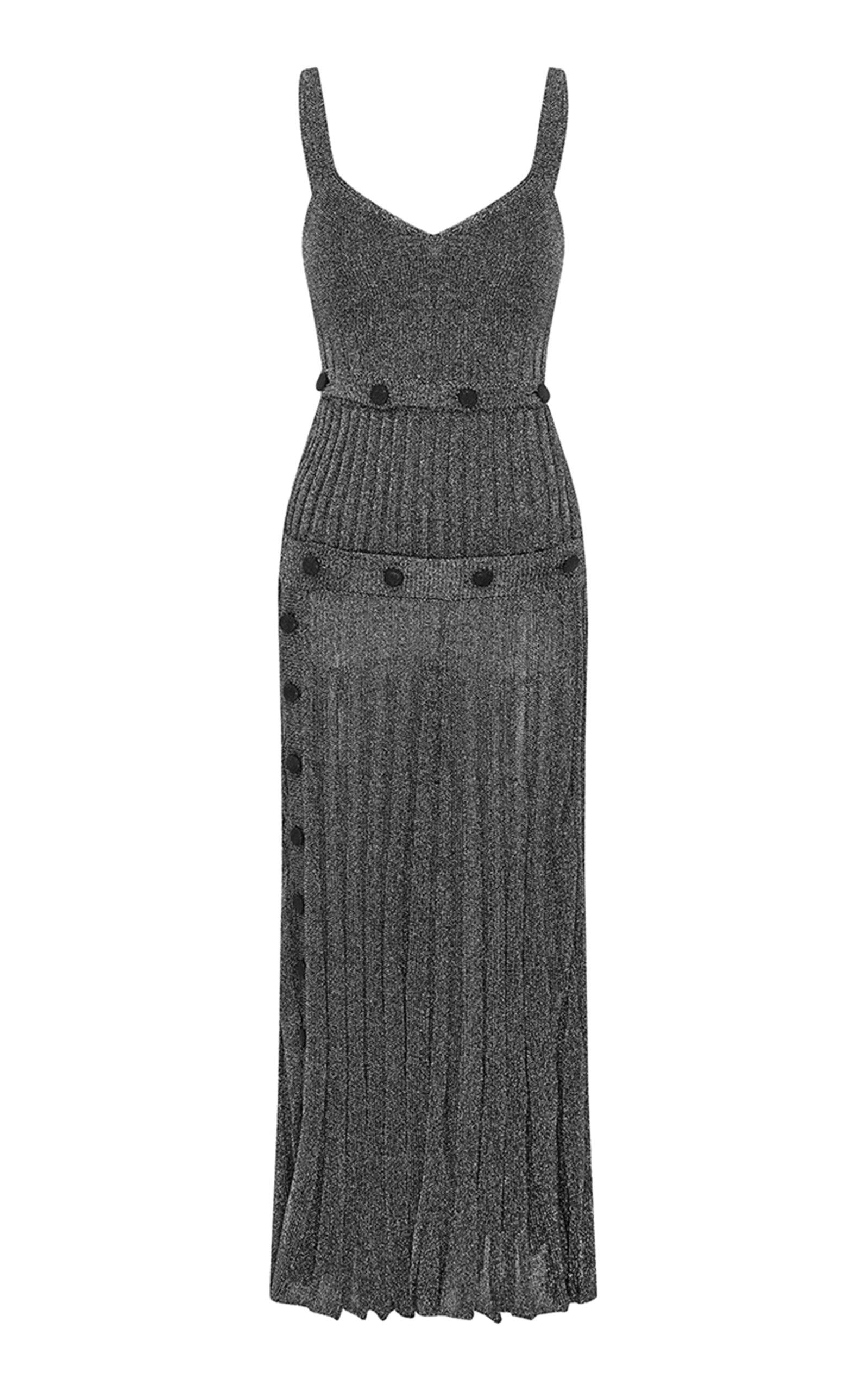 Buy Christopher Esber Button-Detailed Rib-Knit Lurex Dress online, shop Christopher Esber at the best price